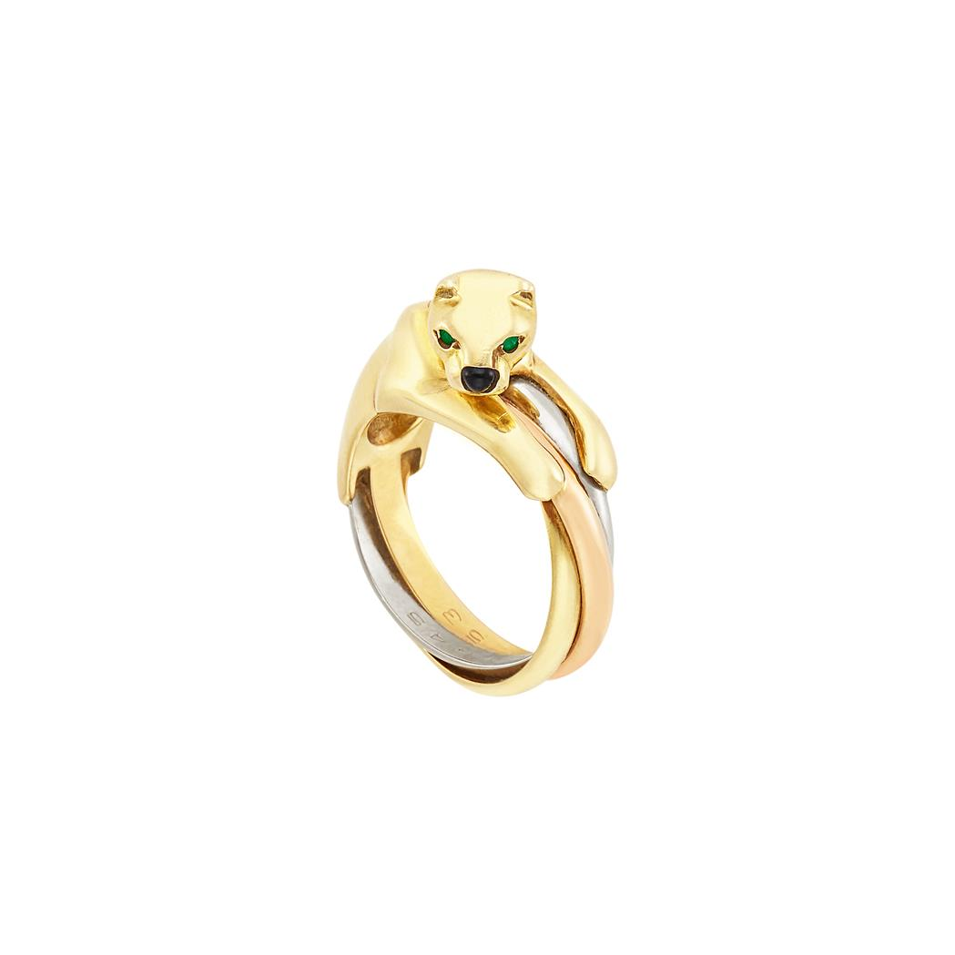 Lot image - Tricolor Gold Panther Ring, Cartier