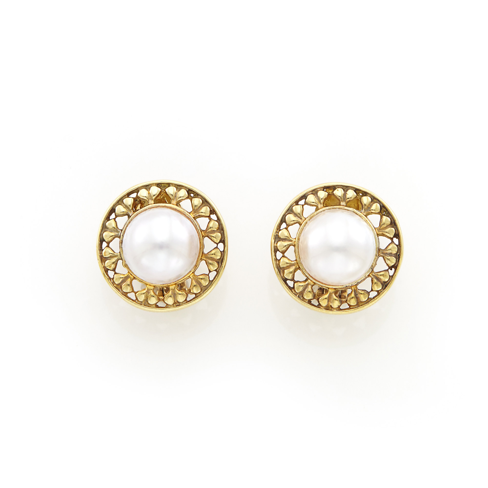 Lot image - Pair of Gold and Mabé Pearl Earrings