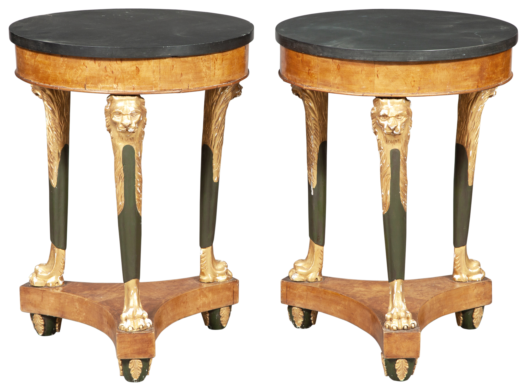 Lot image - Pair of Continental Karelian Birch, Faux Bronze and Parcel-Gilt Gueridons