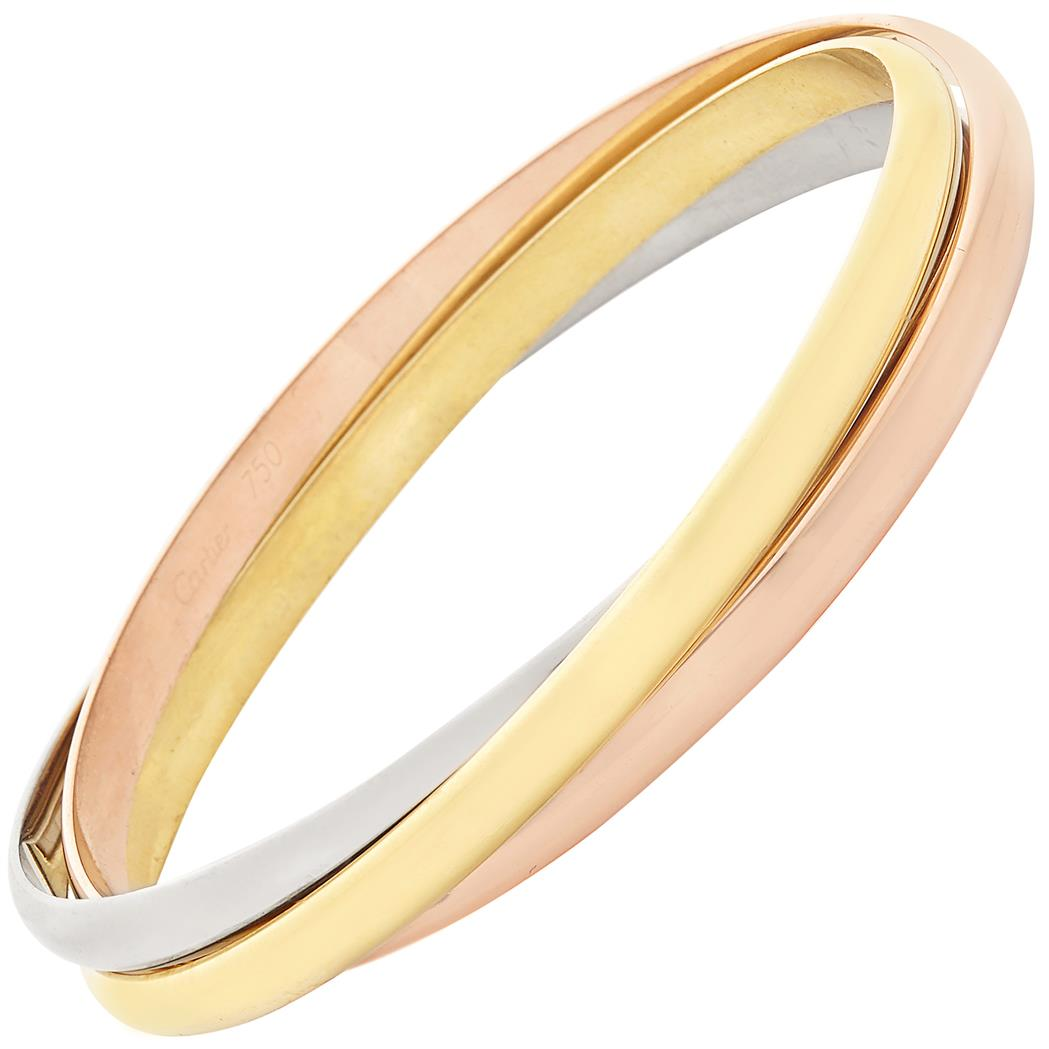 Lot image - Tricolor Gold Trinity Bangle Bracelet, Cartier