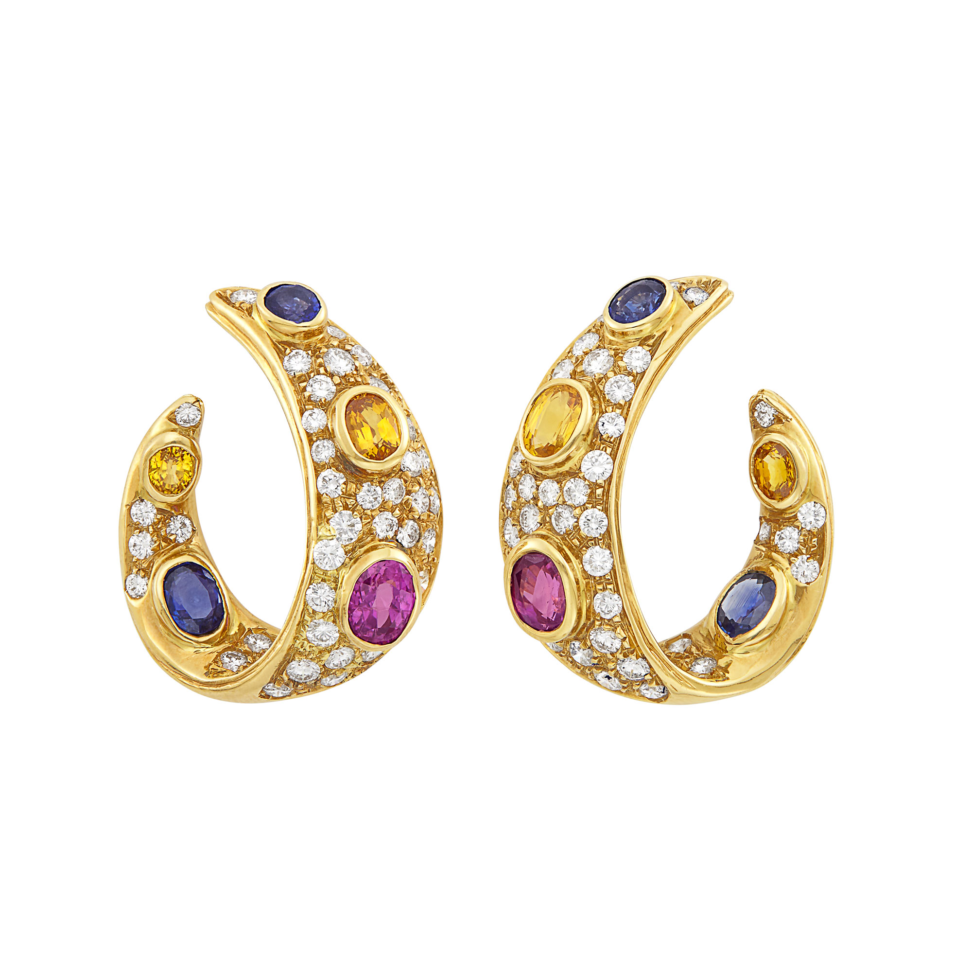 Lot image - Pair of Gold, Multicolored Sapphire and Diamond Hoop Earrings