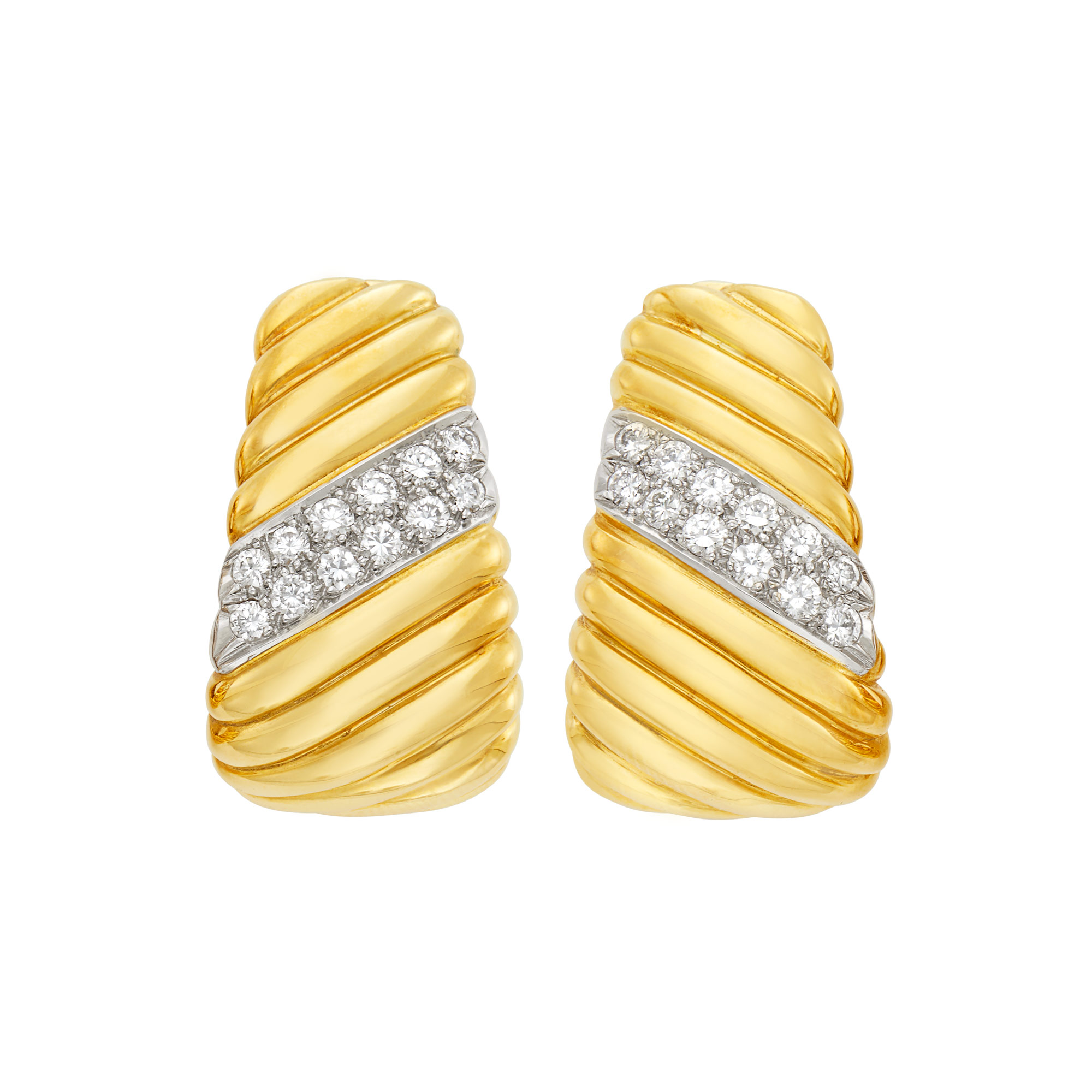 Lot image - Pair of Two-Color Gold and Diamond Hoop Earclips