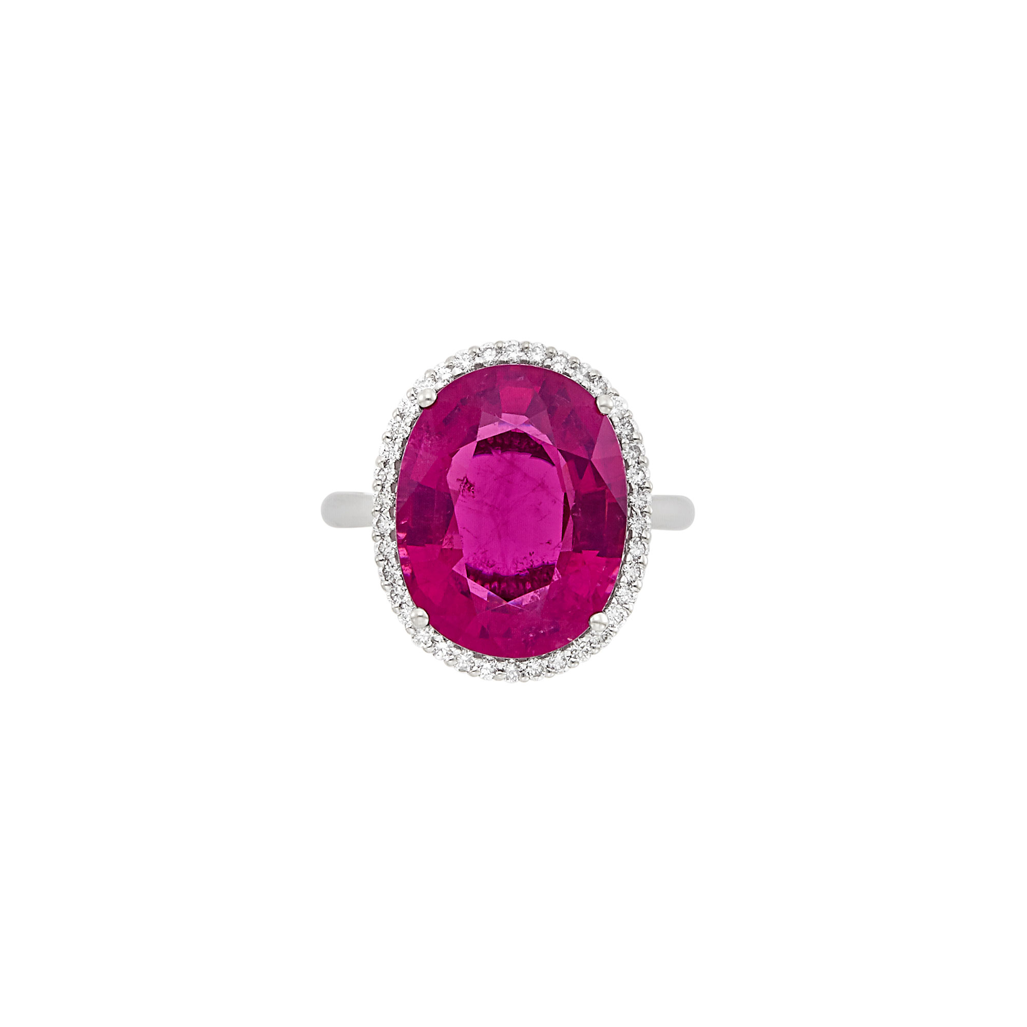 Lot image - White Gold, Rubellite and Diamond Ring