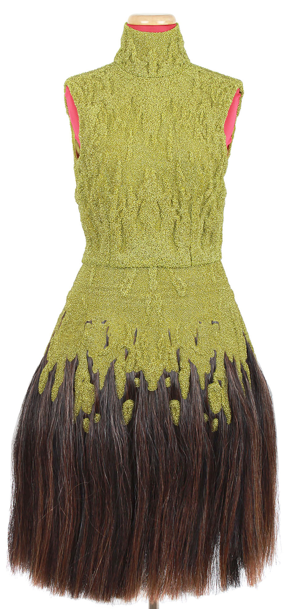 Lot image - Chartreuse Glass Bead and Synthetic Horsehair Midi-Dress, Eshu, Autumn-Winter 2000