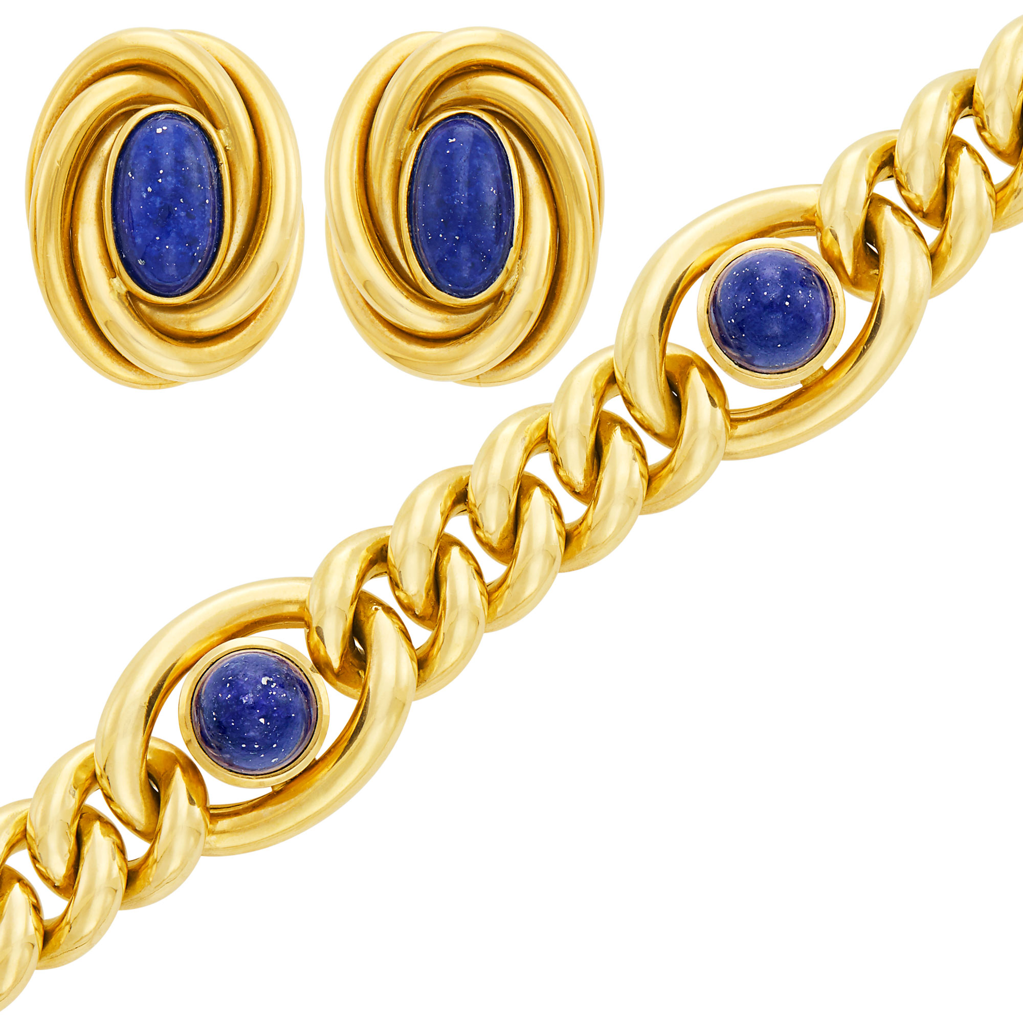 Lot image - Gold and Lapis Curb Link Bracelet and Pair of Earclips