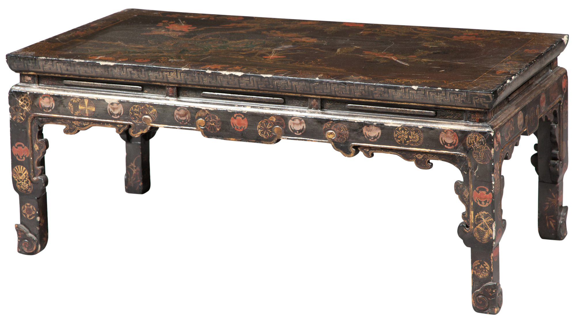 Lot image - Japanese Black and Polychrome-Decorated Low Table