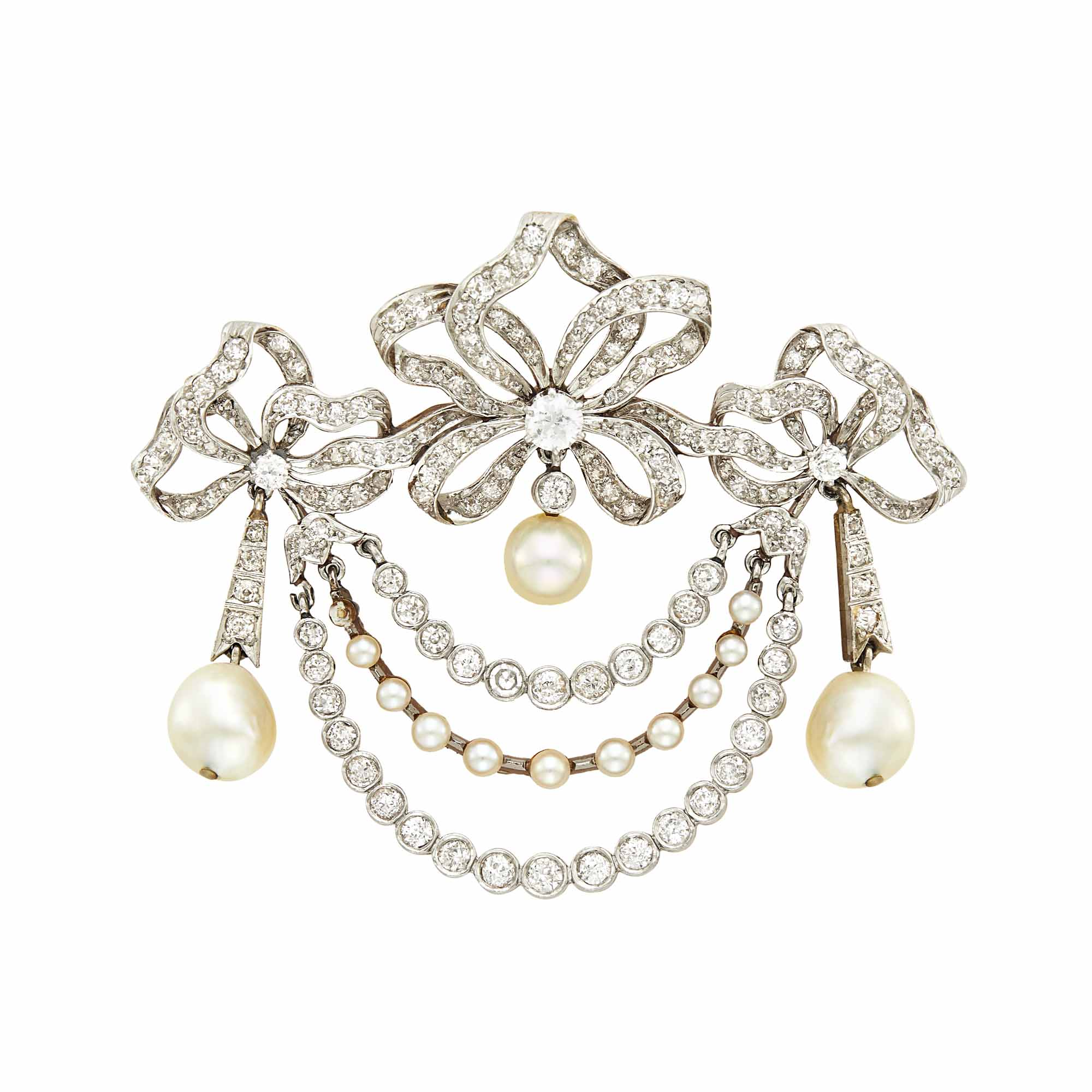 Lot image - Belle Époque Platinum, Gold, Pearl and Diamond Bow Swag Brooch