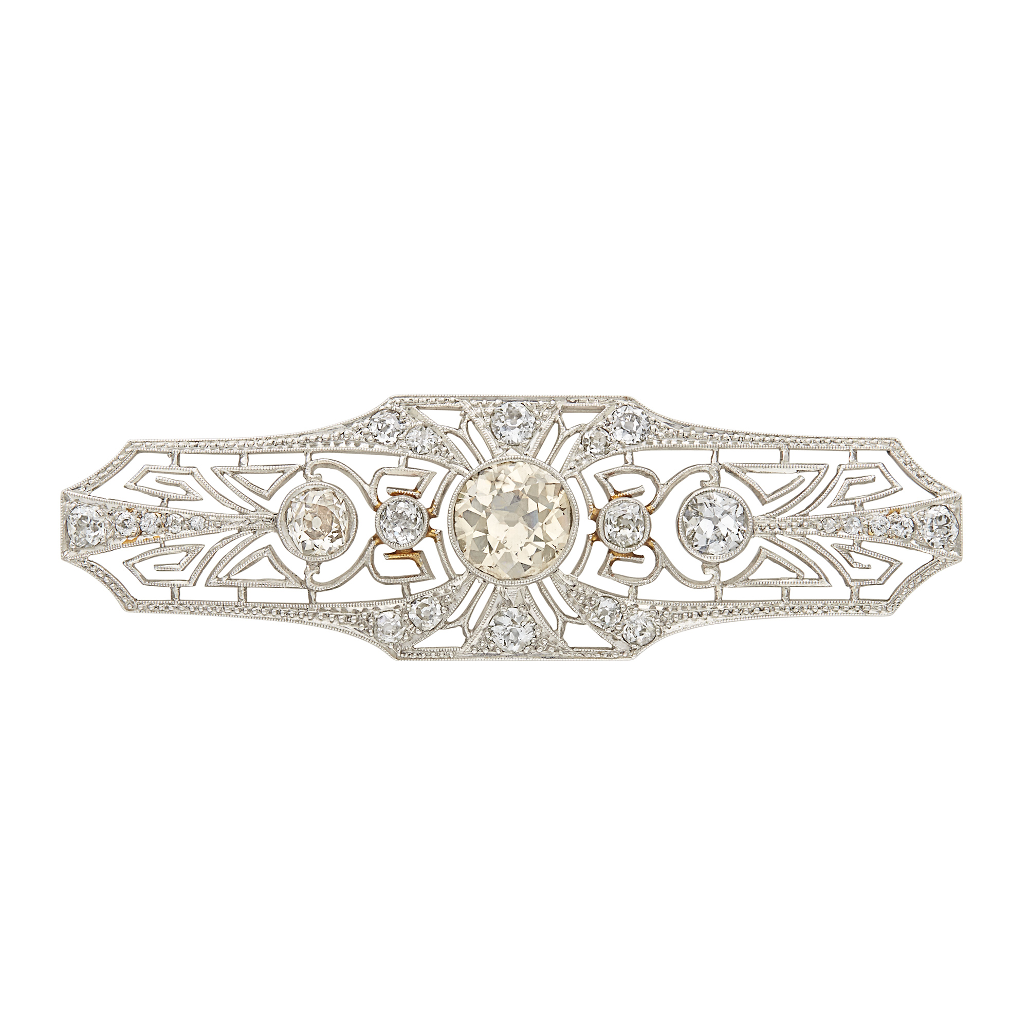 Lot image - Platinum, Colored Diamond and Diamond Brooch