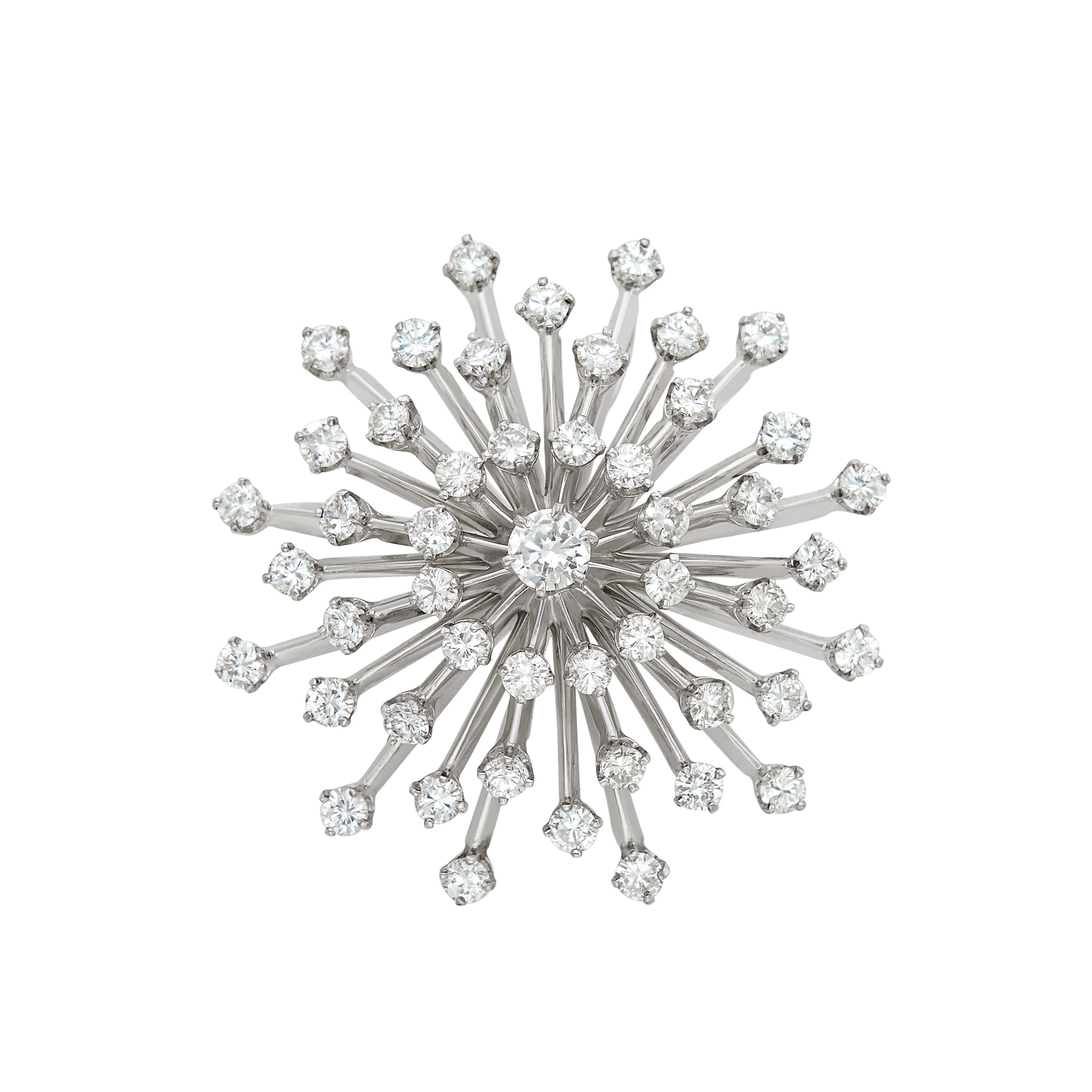 Lot image - White Gold and Diamond Star Brooch