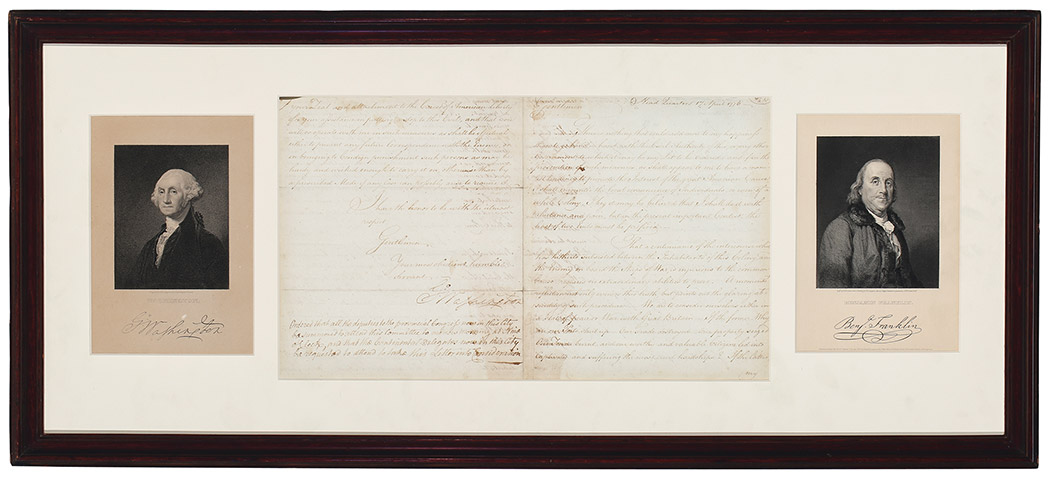 Lot image - [AMERICAN REVOLUTION]  WASHINGTON, GEORGE. Important 1776 letter signed to the New York Committee of Safety