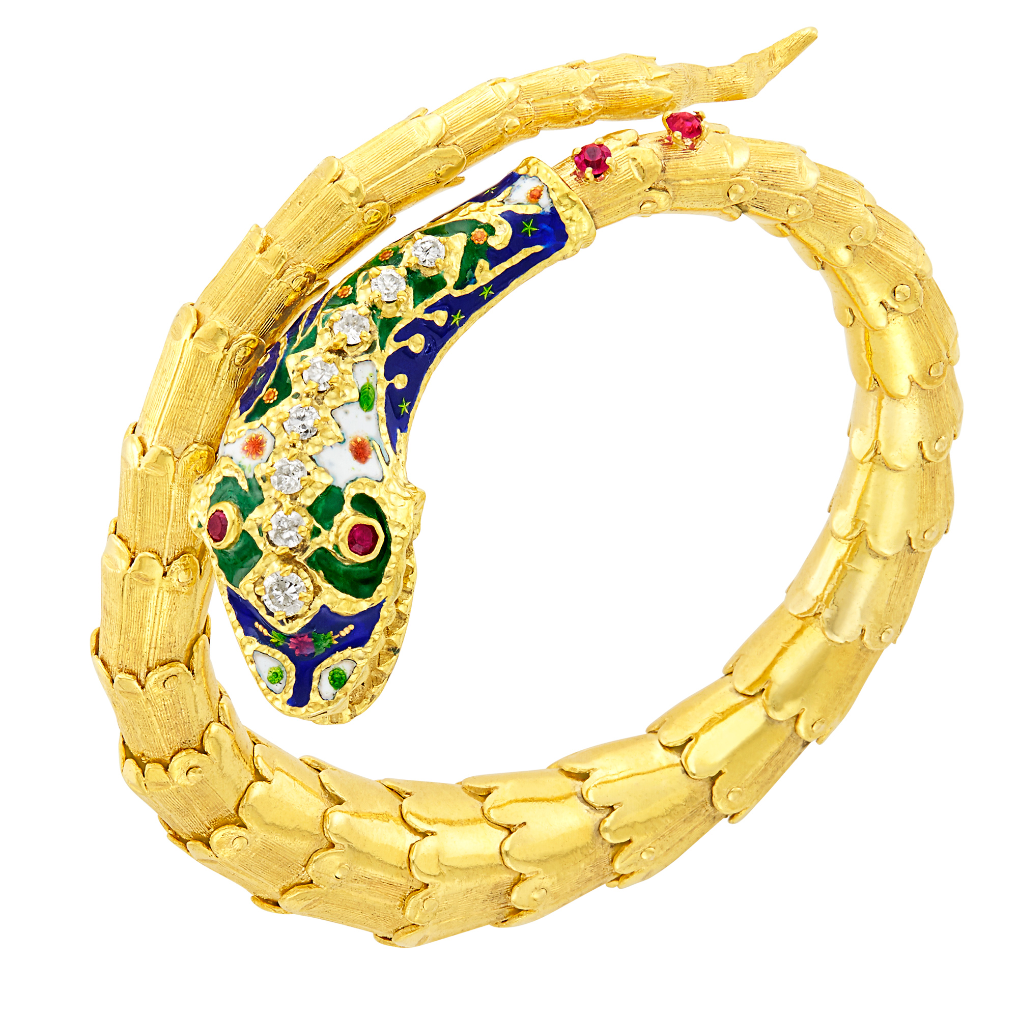 Lot image - Gold, Enamel, Diamond and Ruby Snake Bracelet
