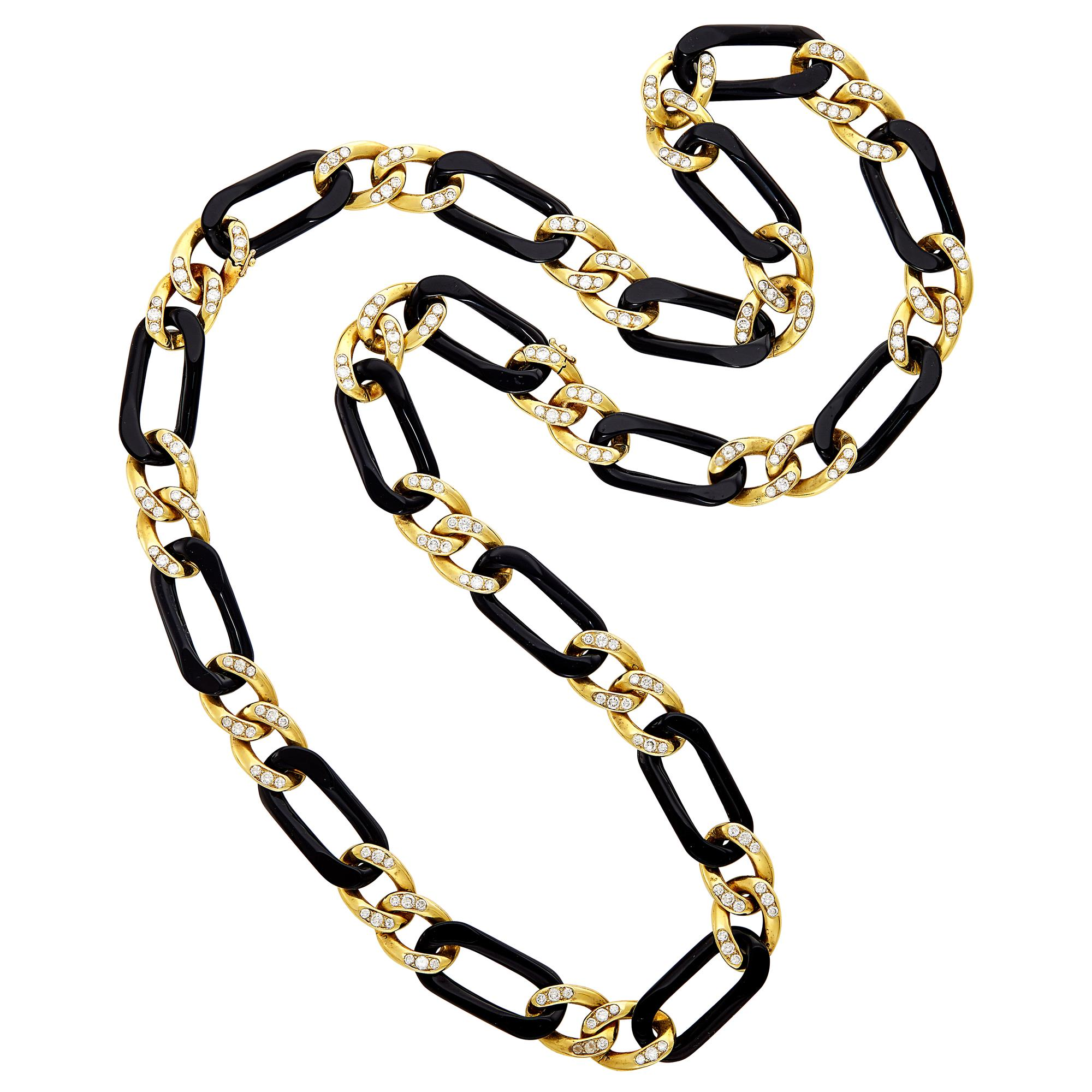 Lot image - Long Black Onyx, Gold and Diamond Curb Link Necklace, Van Cleef & Arpels, France