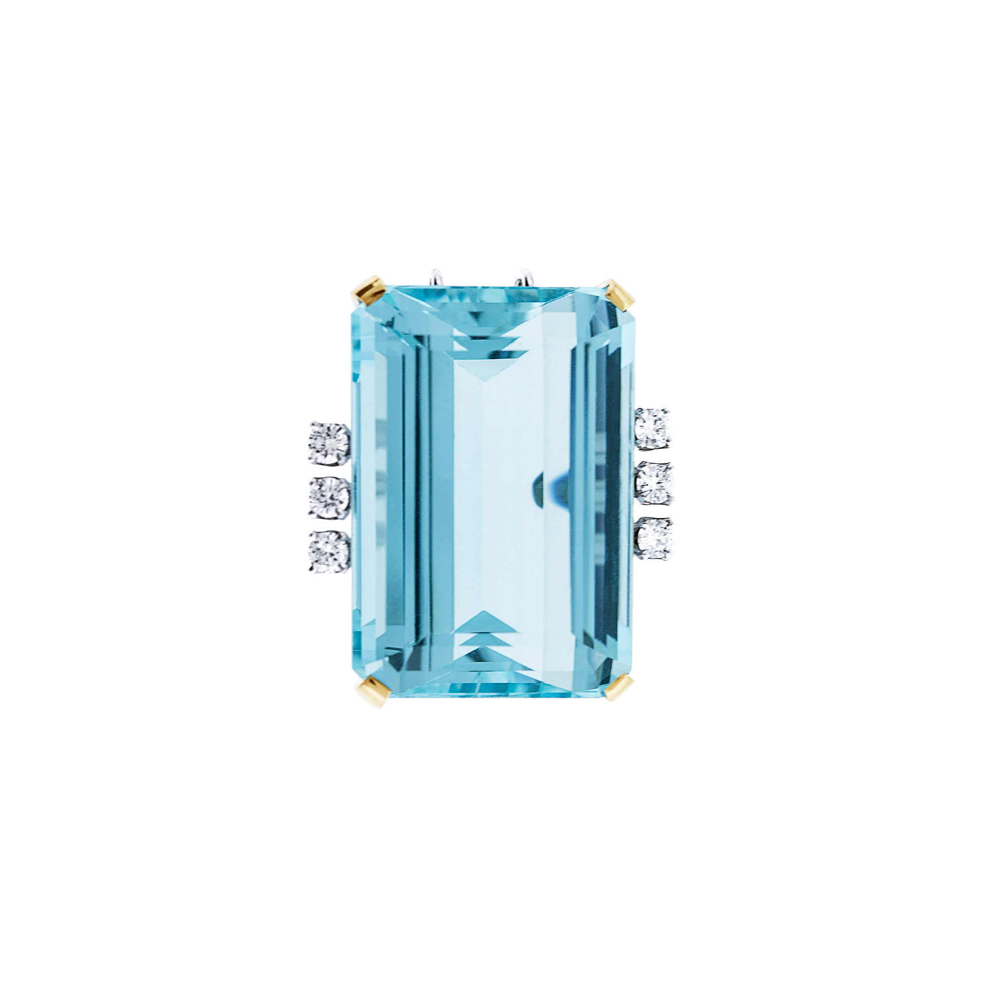 Lot image - White Gold, Aquamarine and Diamond Pendant