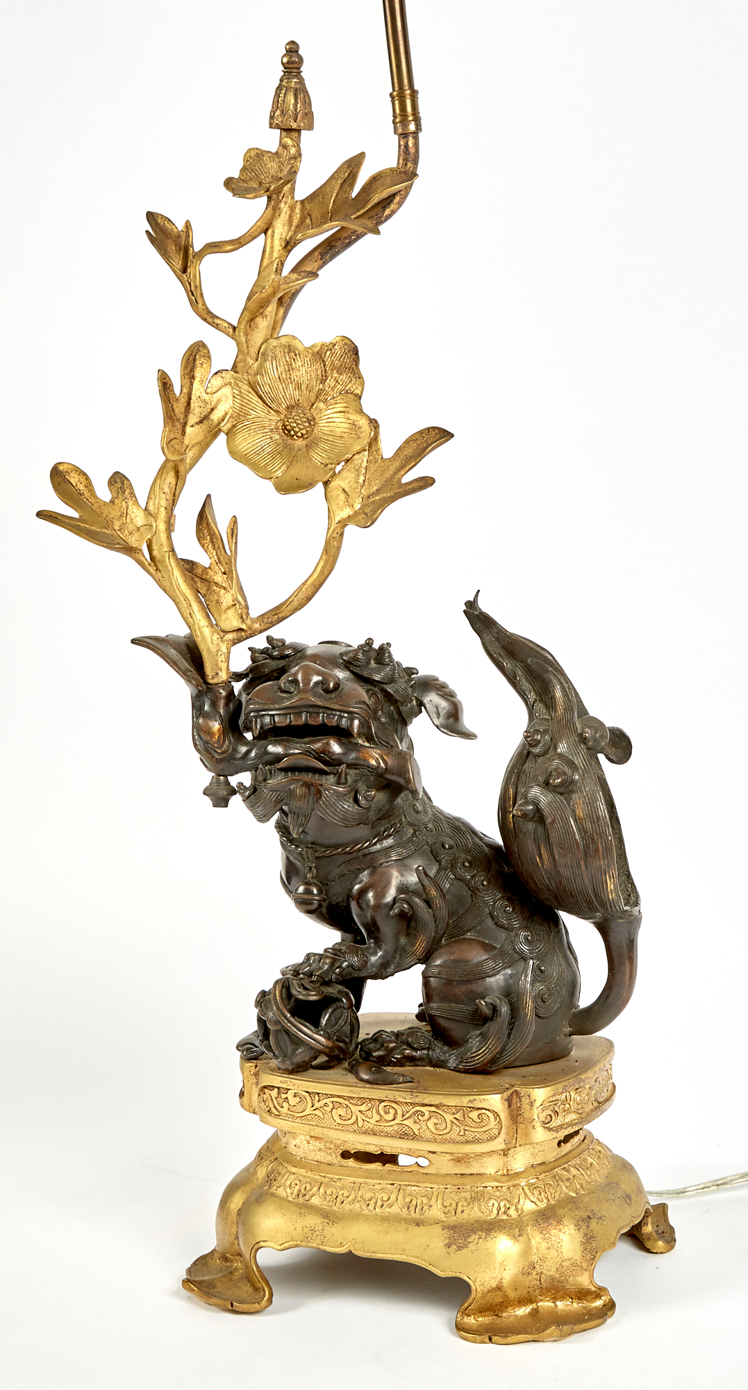Lot image - Chinese Patinated and Gilt-Bronze Lamp