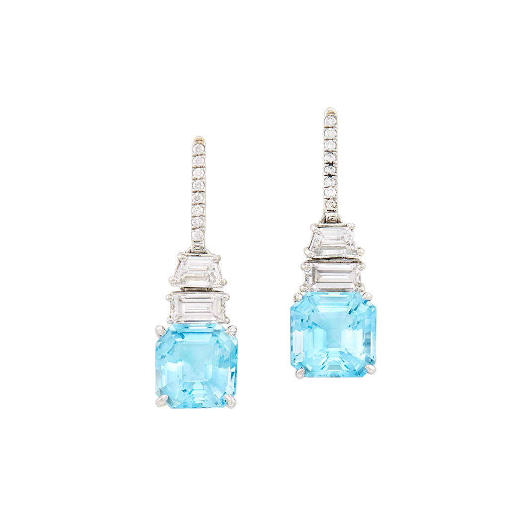 Lot image - Pair of Platinum, White Gold, Aquamarine and Diamond Pendant-Earrings, Tiffany & Co.