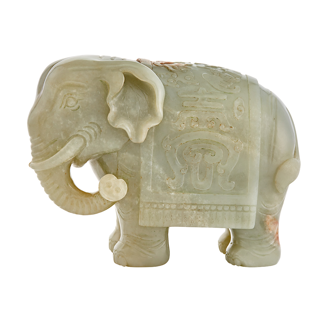Lot image - Chinese Celadon Jade Figure of a Comparisoned Elephant