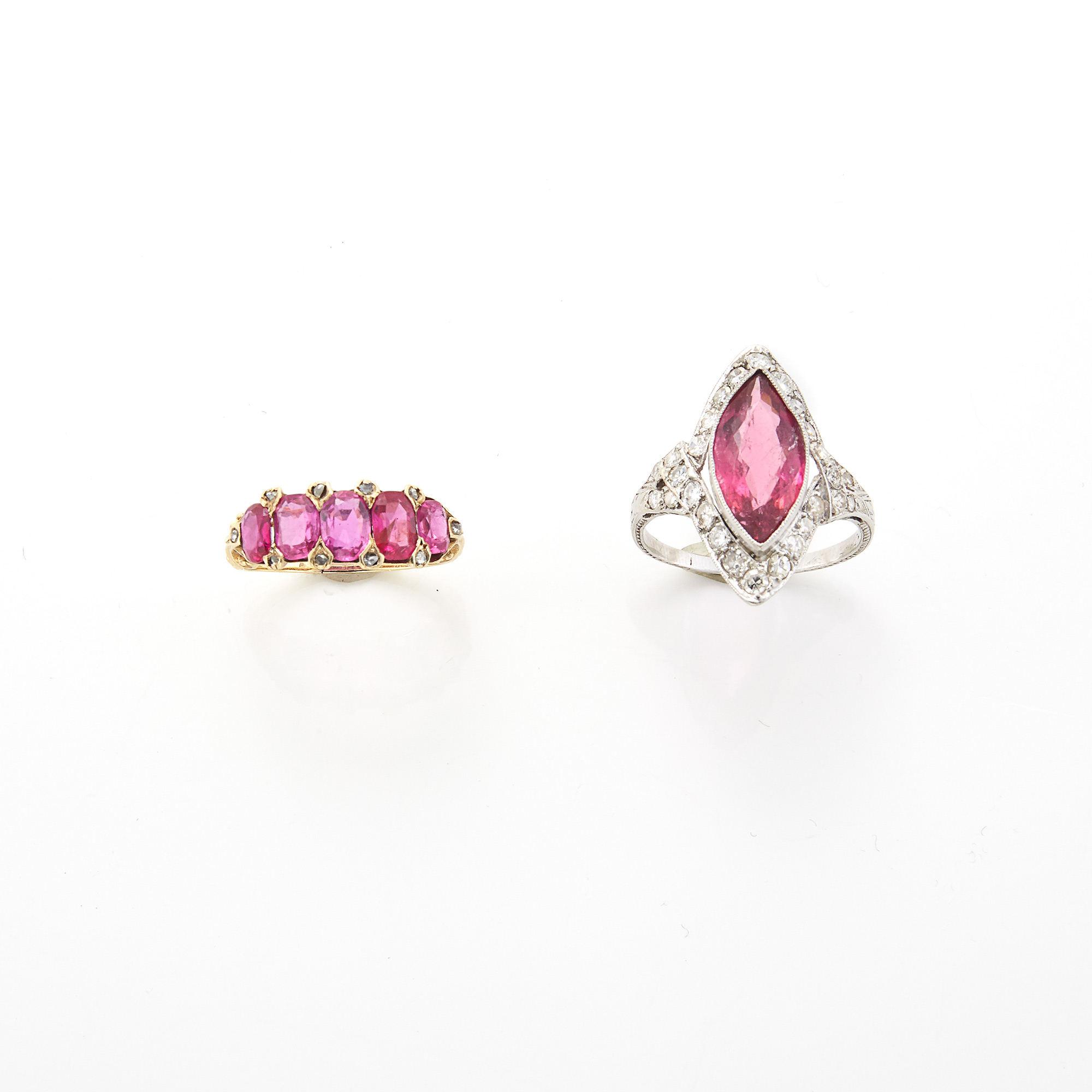 Lot image - Platinum, Pink Tourmaline and Diamond Ring and Gold, Ruby and Diamond Ring