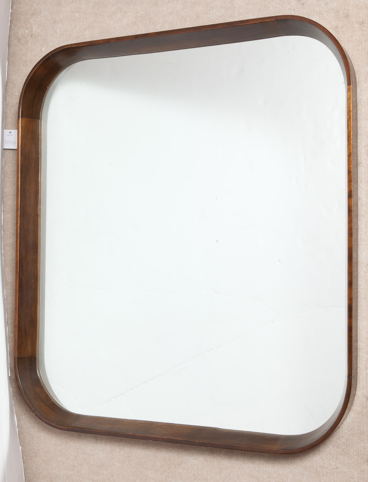 Lot image - Stained Wood Mirror