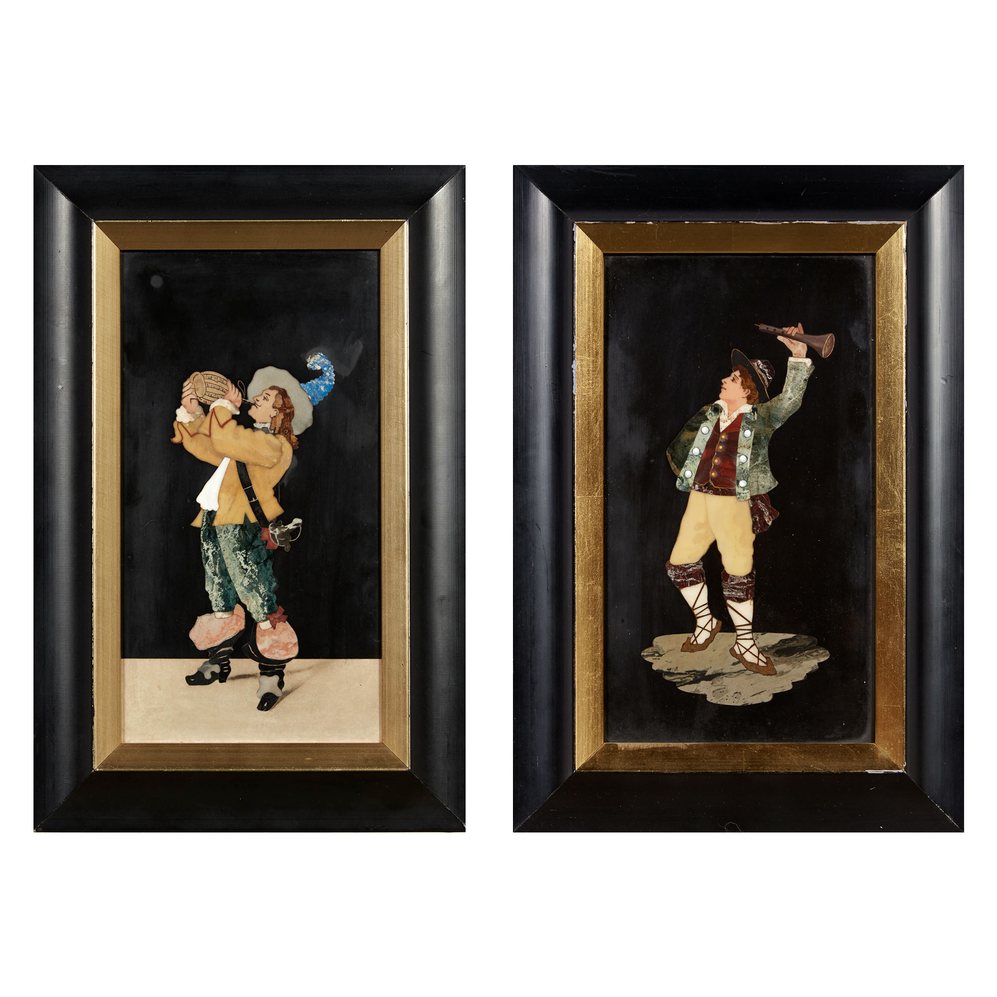 Lot image - Two Florentine Framed Pietra-Dura Figural Plaques