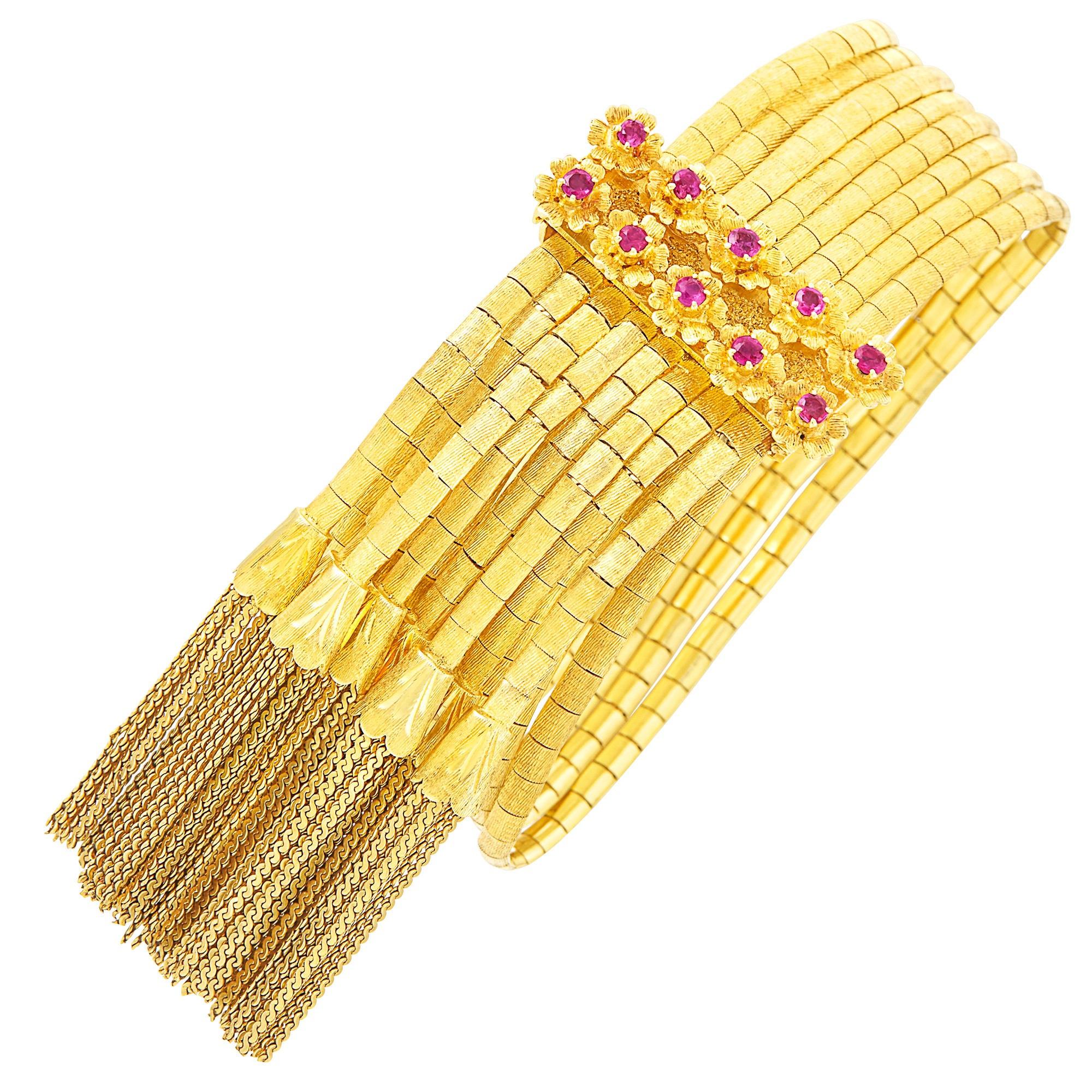 Lot image - Eight Strand Gold and Ruby Fringe Slide Bracelet