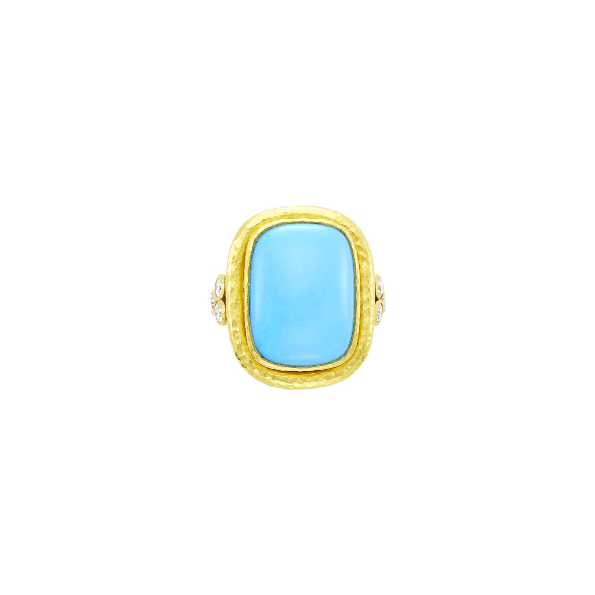 Lot image - Elizabeth Locke Hammered Gold, Turquoise Composite and Diamond Ring