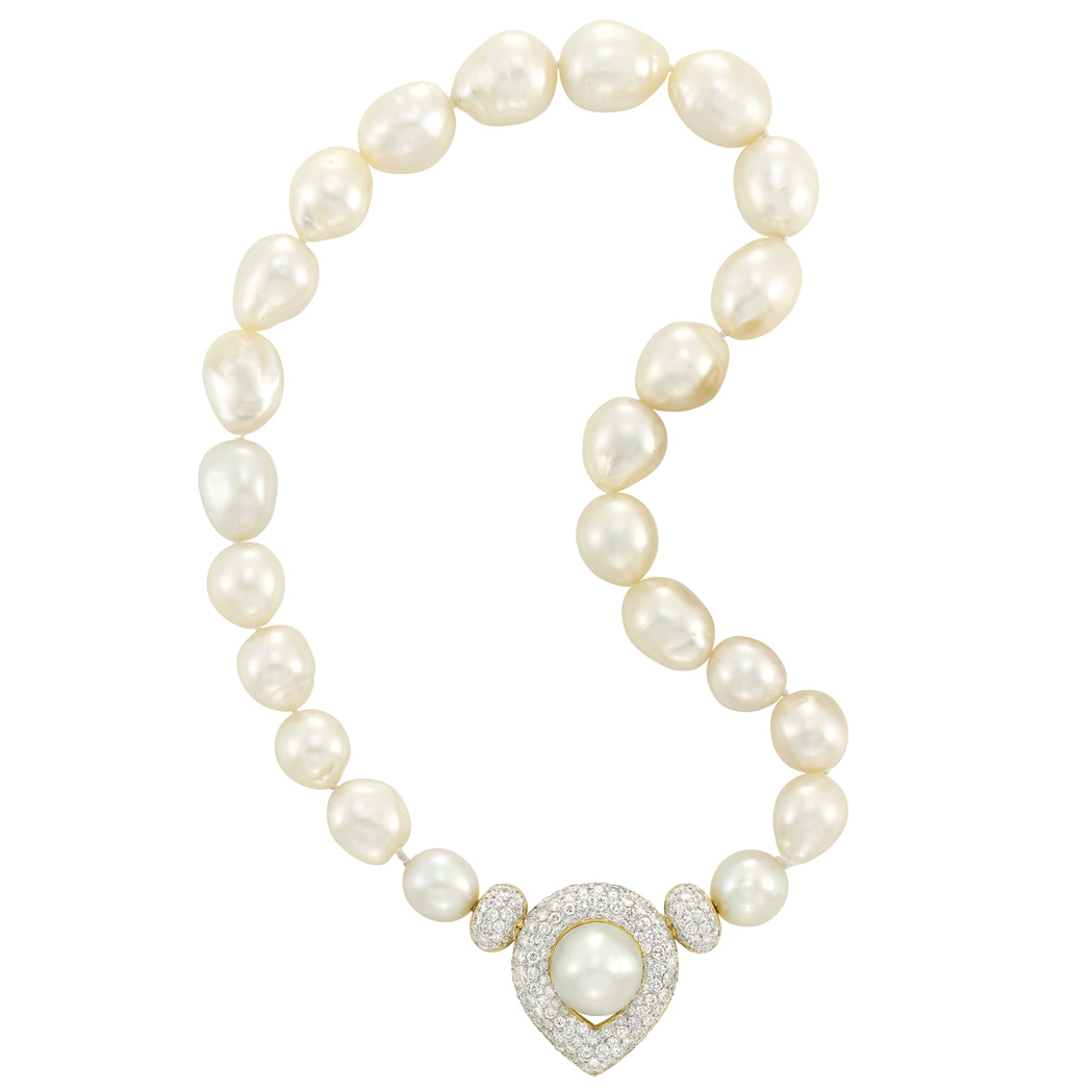 Lot image - Semi-Baroque South Sea Cultured Pearl, Two-Color Gold and Diamond Necklace