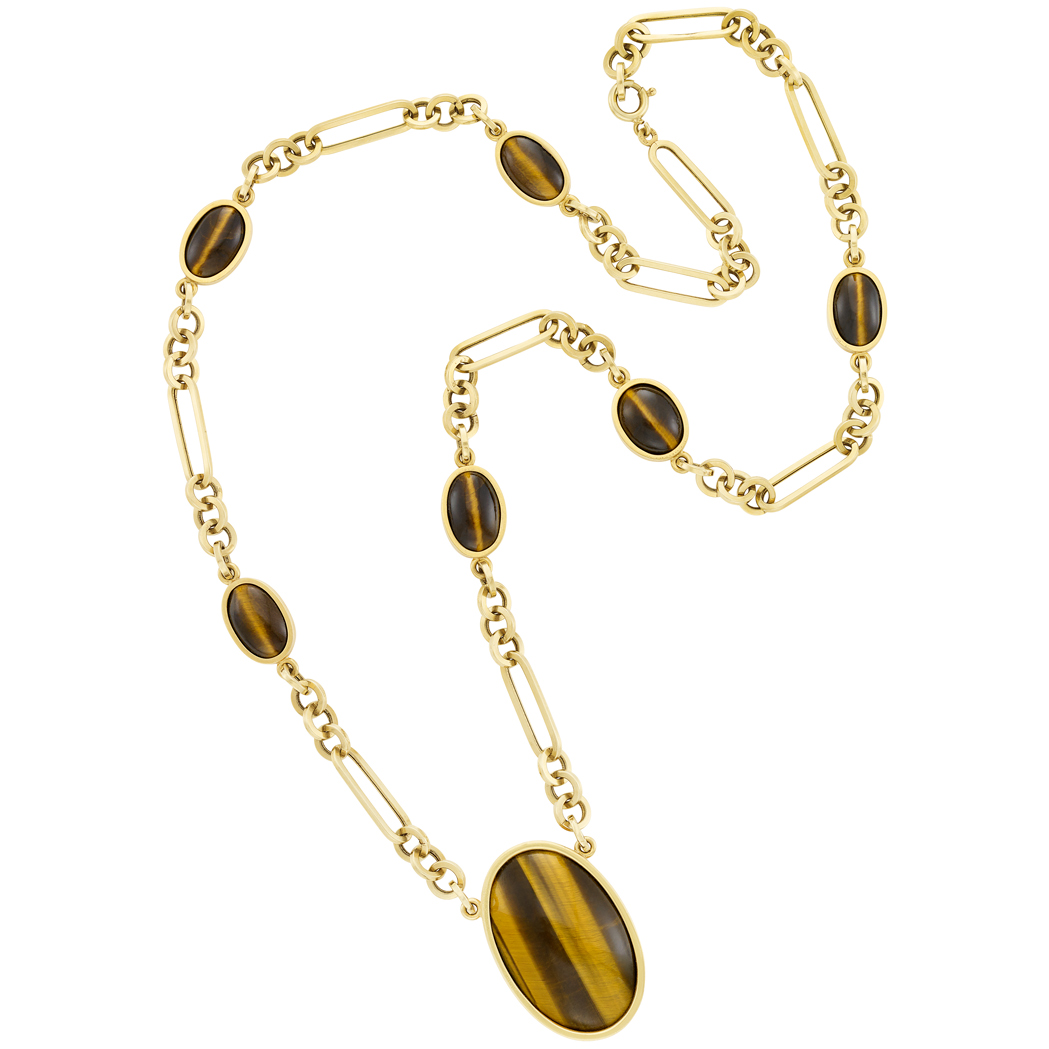 Lot image - Long Gold and Tigers Eye Chain Necklace