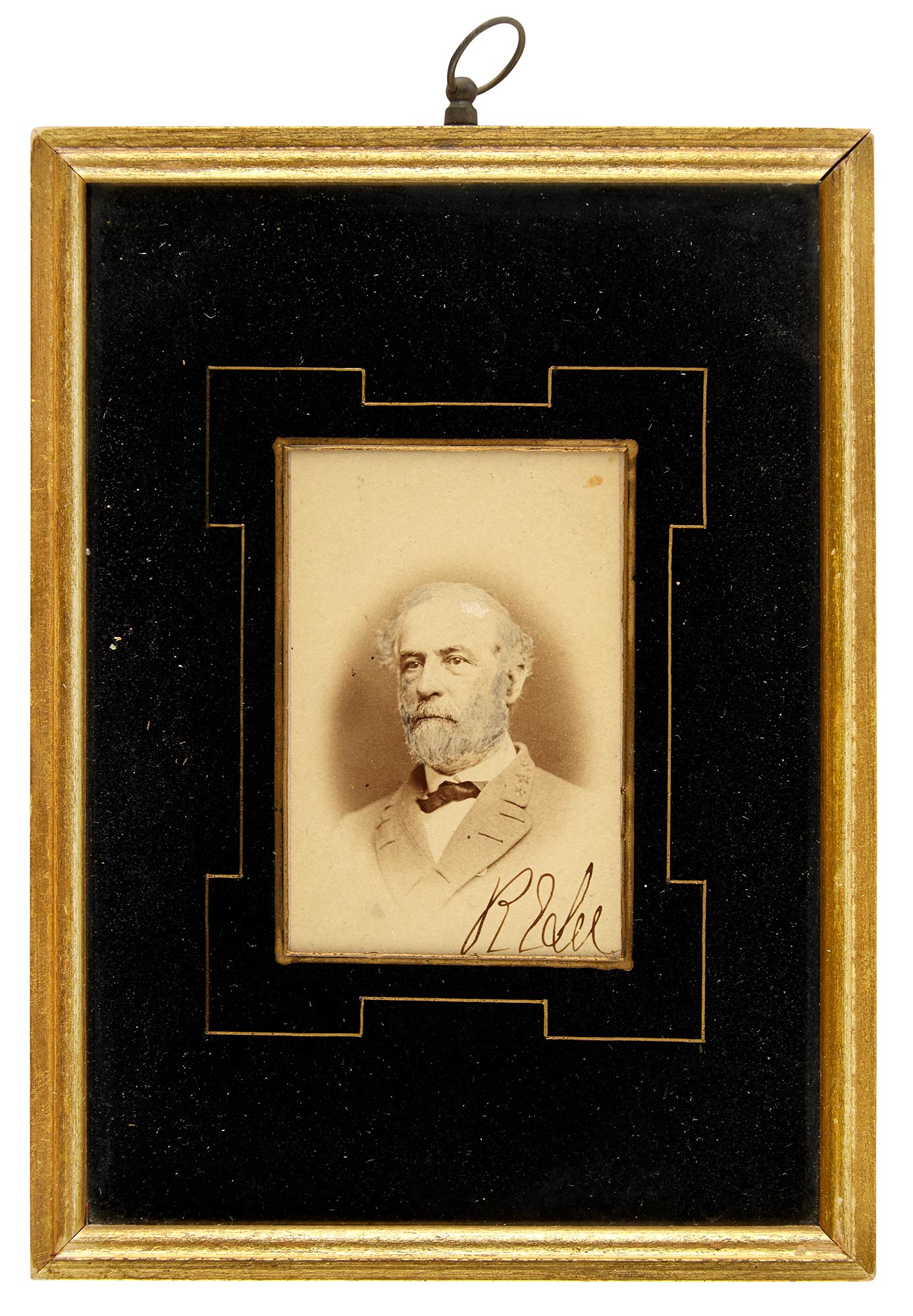 Lot image - LEE, ROBERT E.  Signed carte-de-visite portrait.