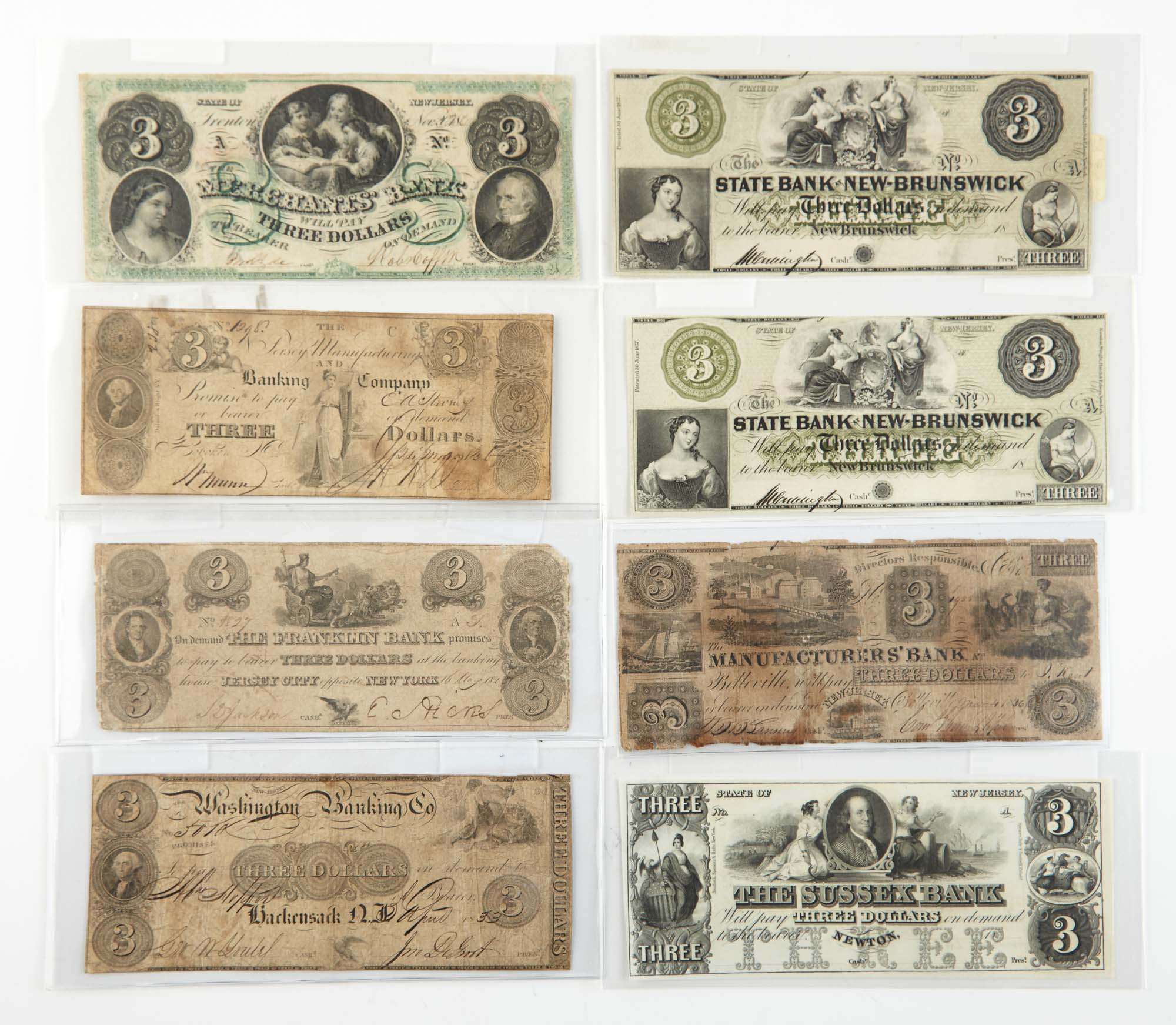 Lot image - United States $3 Obsolete Bank Notes of New Jersey