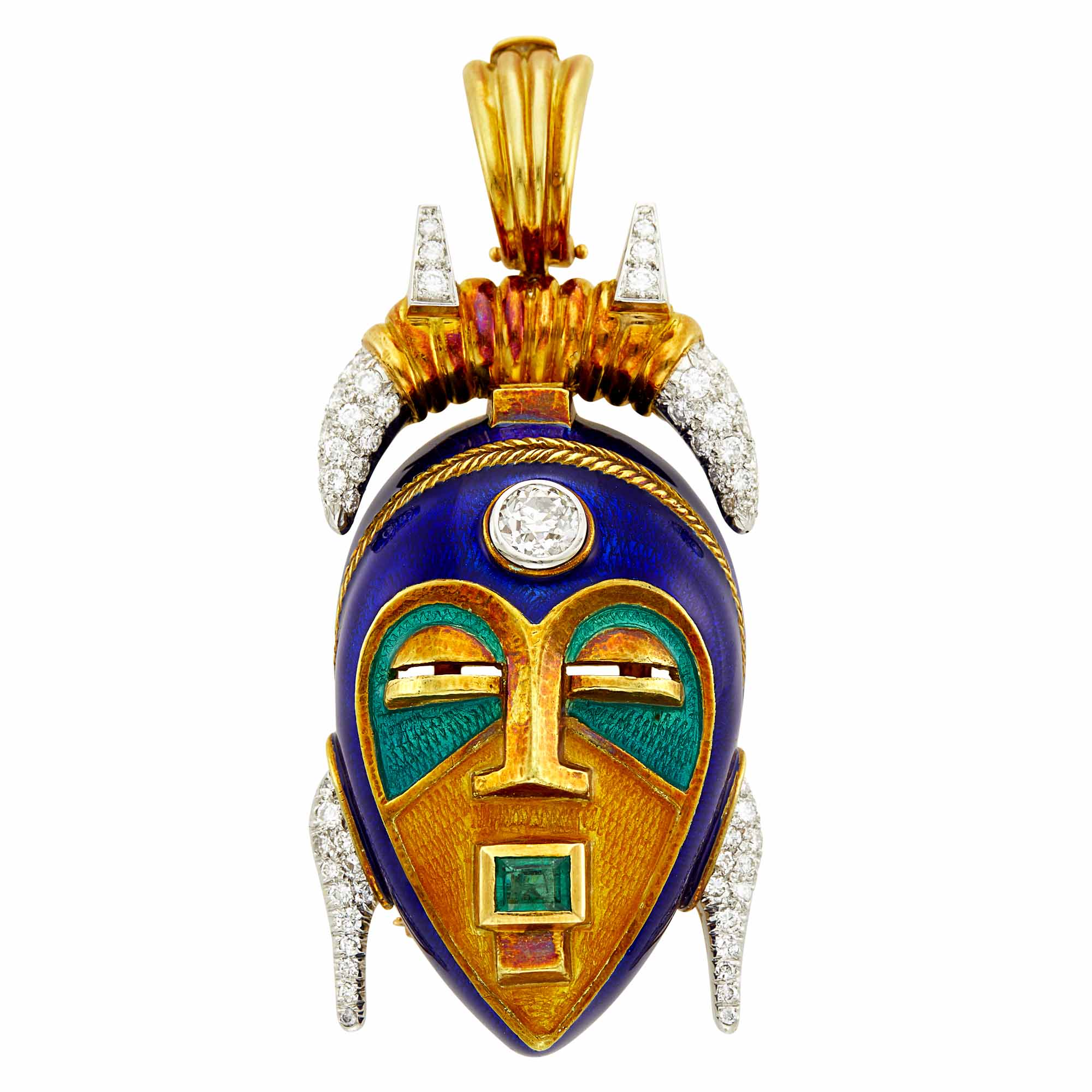 Lot image - Two-Color Gold, Enamel, Diamond and Emerald Mask Pendant Clip-Brooch