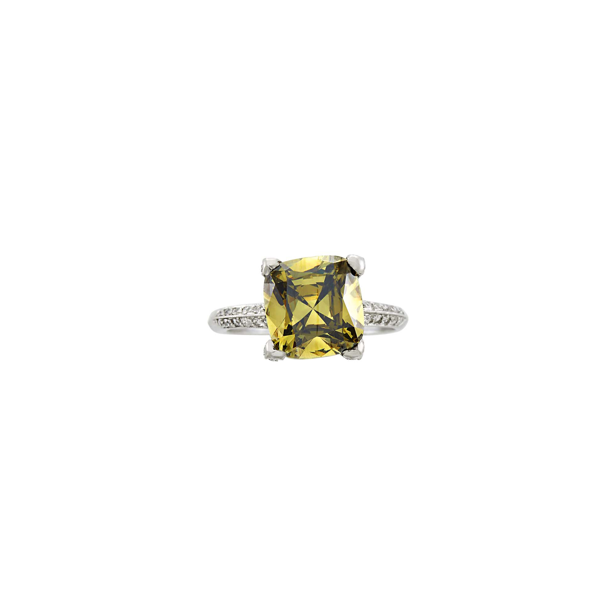 Lot image - Dreicer & Co. Fancy Dark Brown-Greenish Yellow Diamond and Diamond Ring