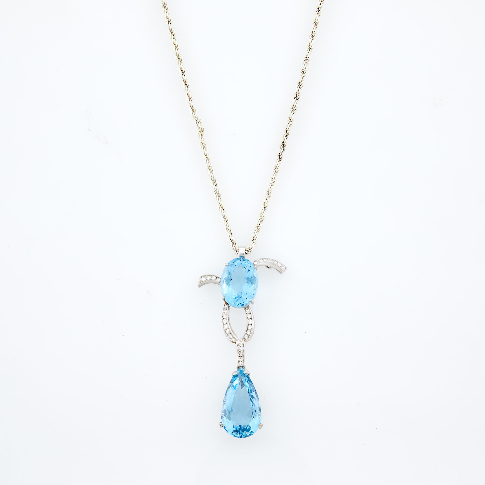 Lot image - White Gold, Aquamarine and Diamond Pendant with Sterling Silver Chain