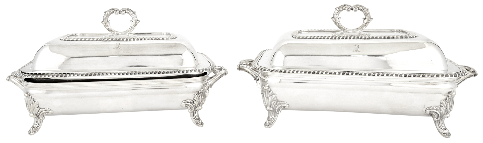 Lot image - Pair of Regency Sheffield Silver Plate Covered Entree Dishes on Stands