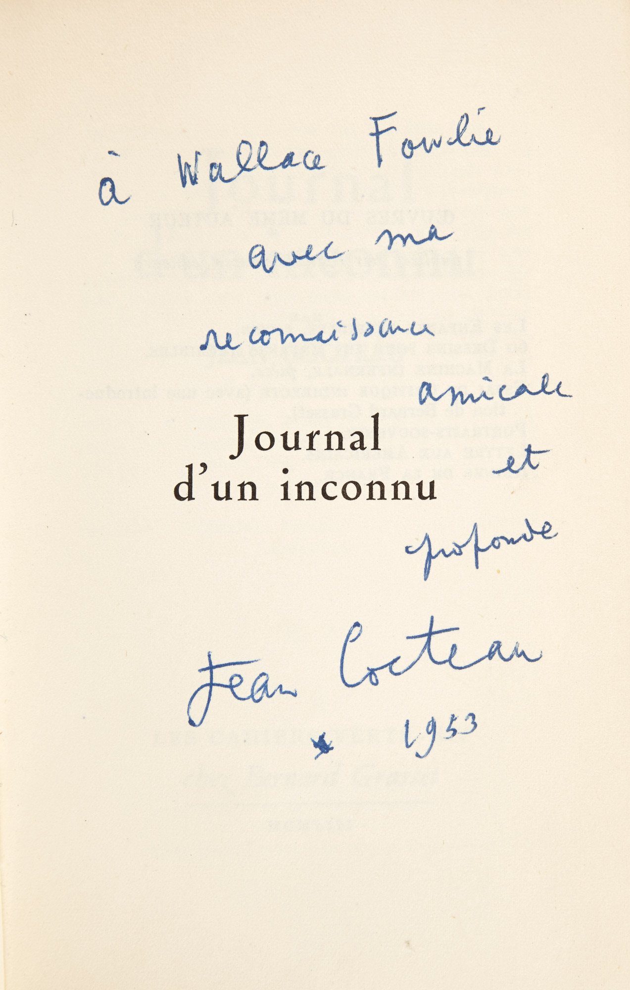 Lot image - COCTEAU, JEAN  Two inscribed titles.