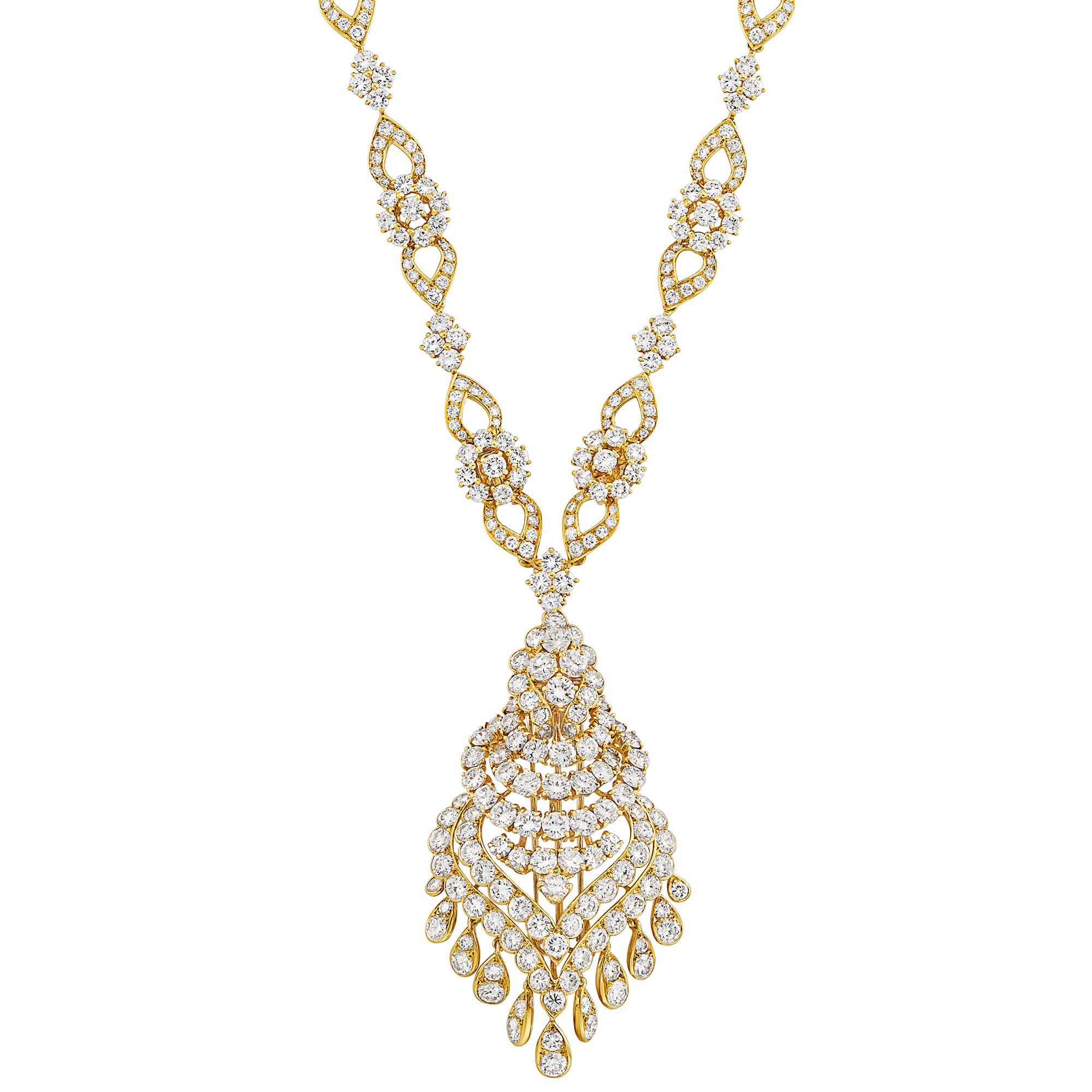 Lot image - Long Gold and Diamond Pendant-Brooch Necklace/Bracelets Combination, Van Cleef & Arpels, France