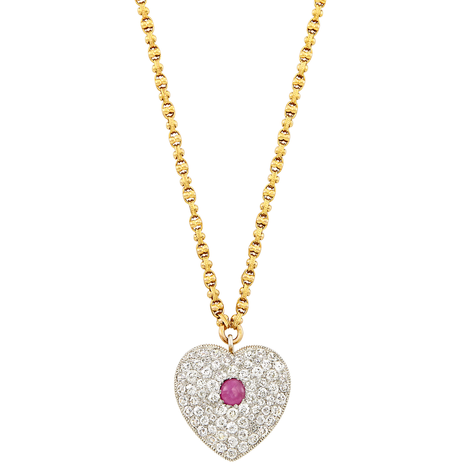 Lot image - Antique Platinum, Gold, Star Ruby and Diamond Pendant-Brooch with Gold Chain