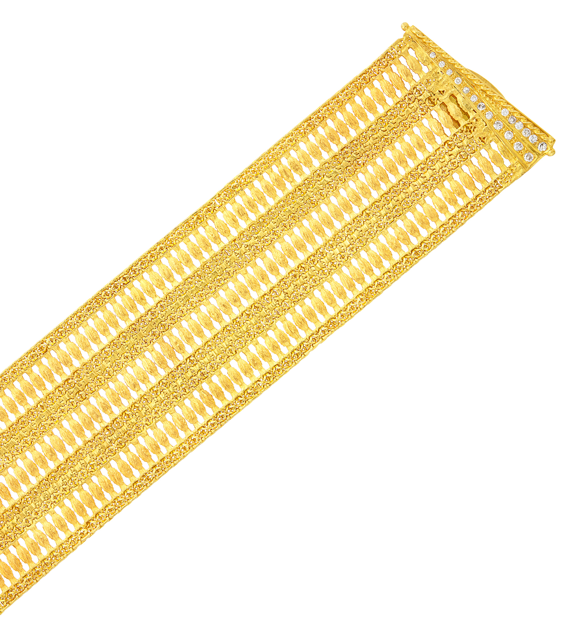 Lot image - Wide Gold and Diamond Mesh Bracelet