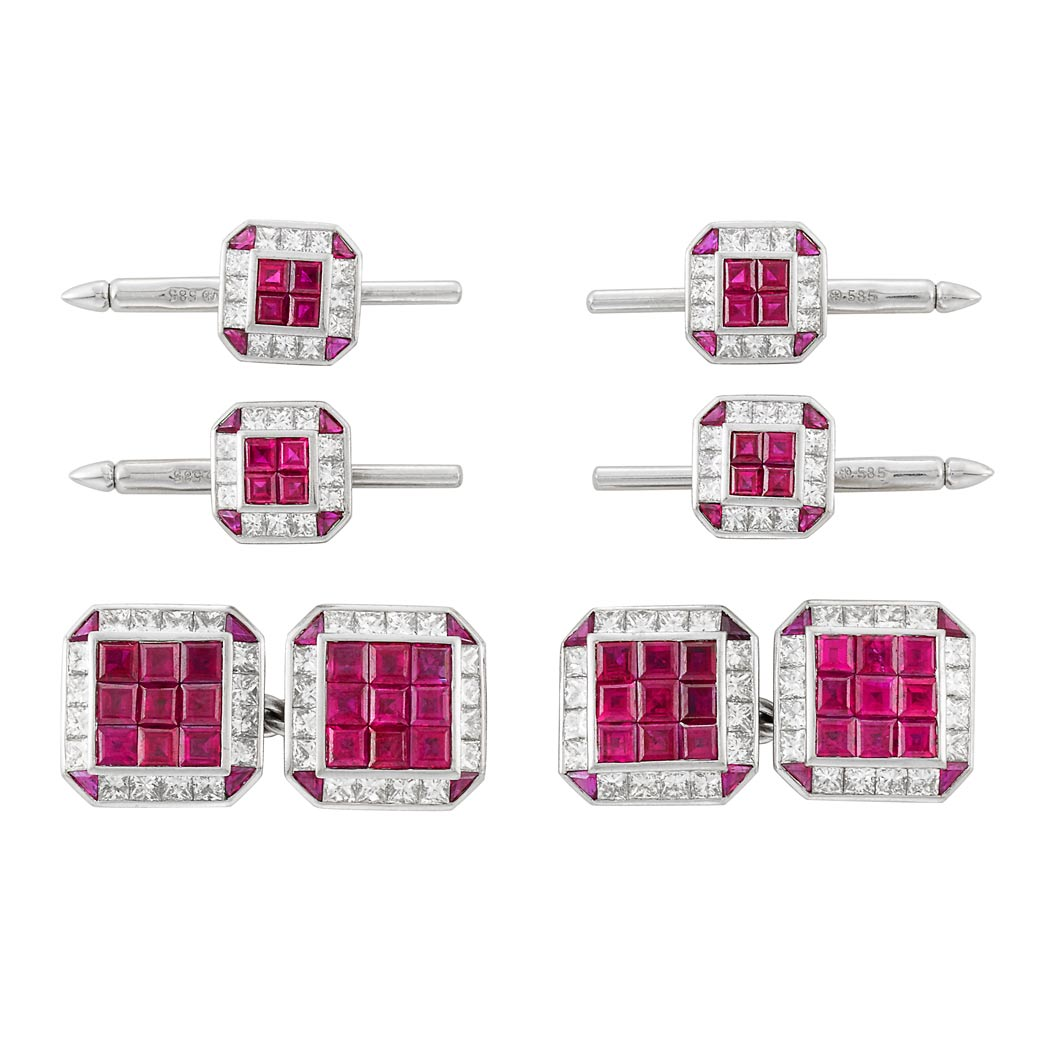 Lot image - Platinum, White Gold, Invisibly-Set Ruby and Diamond Dress Set