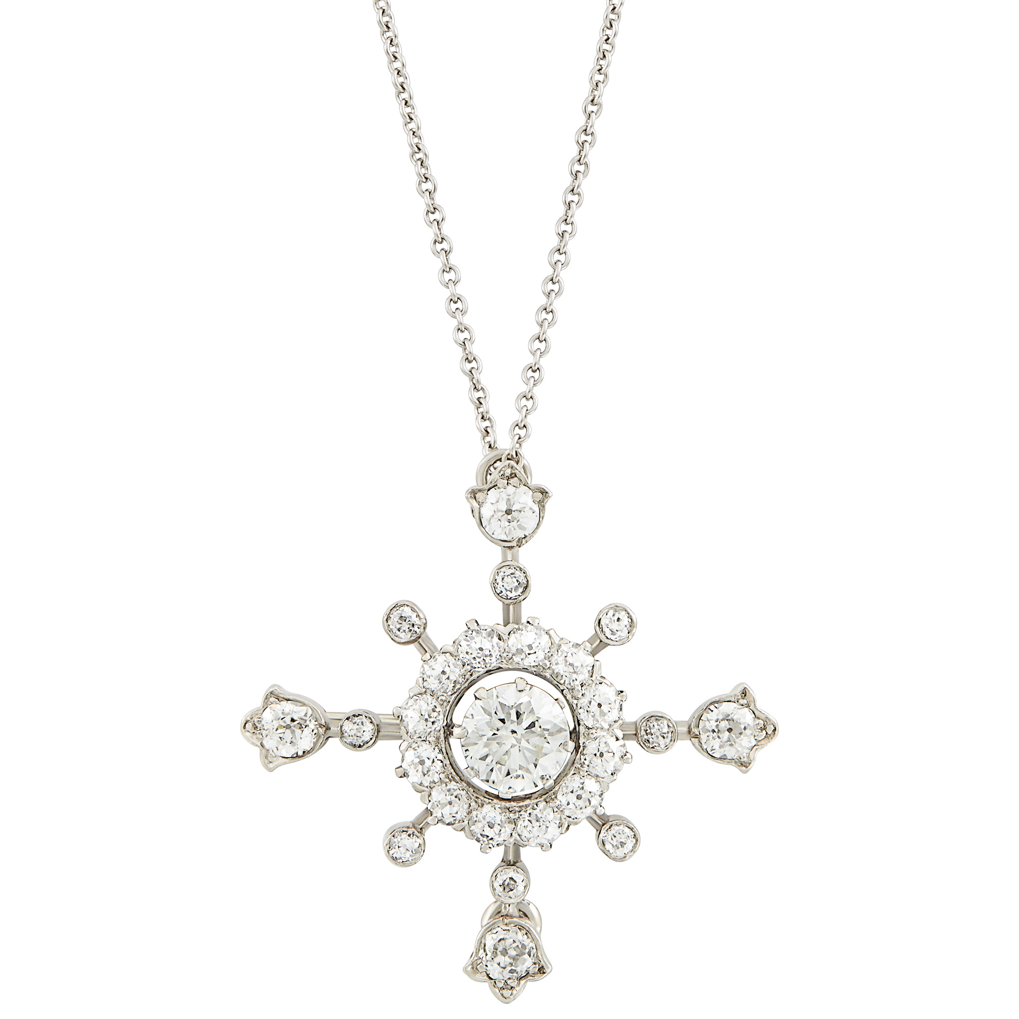 Lot image - Platinum and Diamond Pendant-Brooch with White Gold Chain