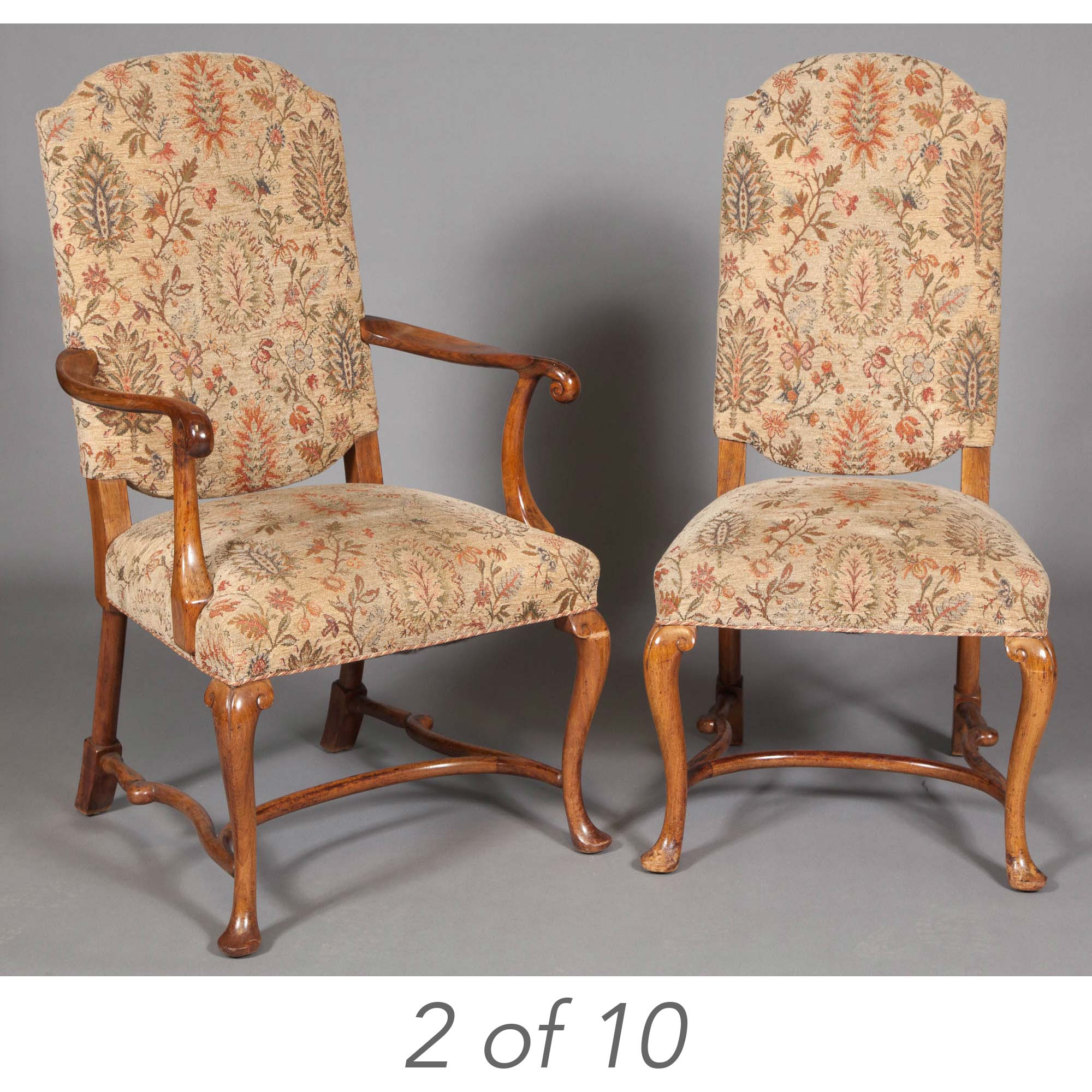 Lot image - Set of Ten George I Style Acacia Wood Dining Chairs
