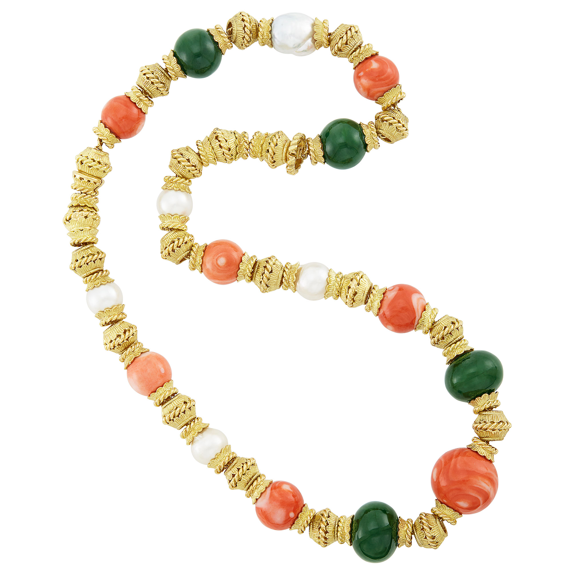 Lot image - Gold, Coral and Nephrite Bead and South Sea Cultured Pearl Necklace/Bracelet Combination, David Webb