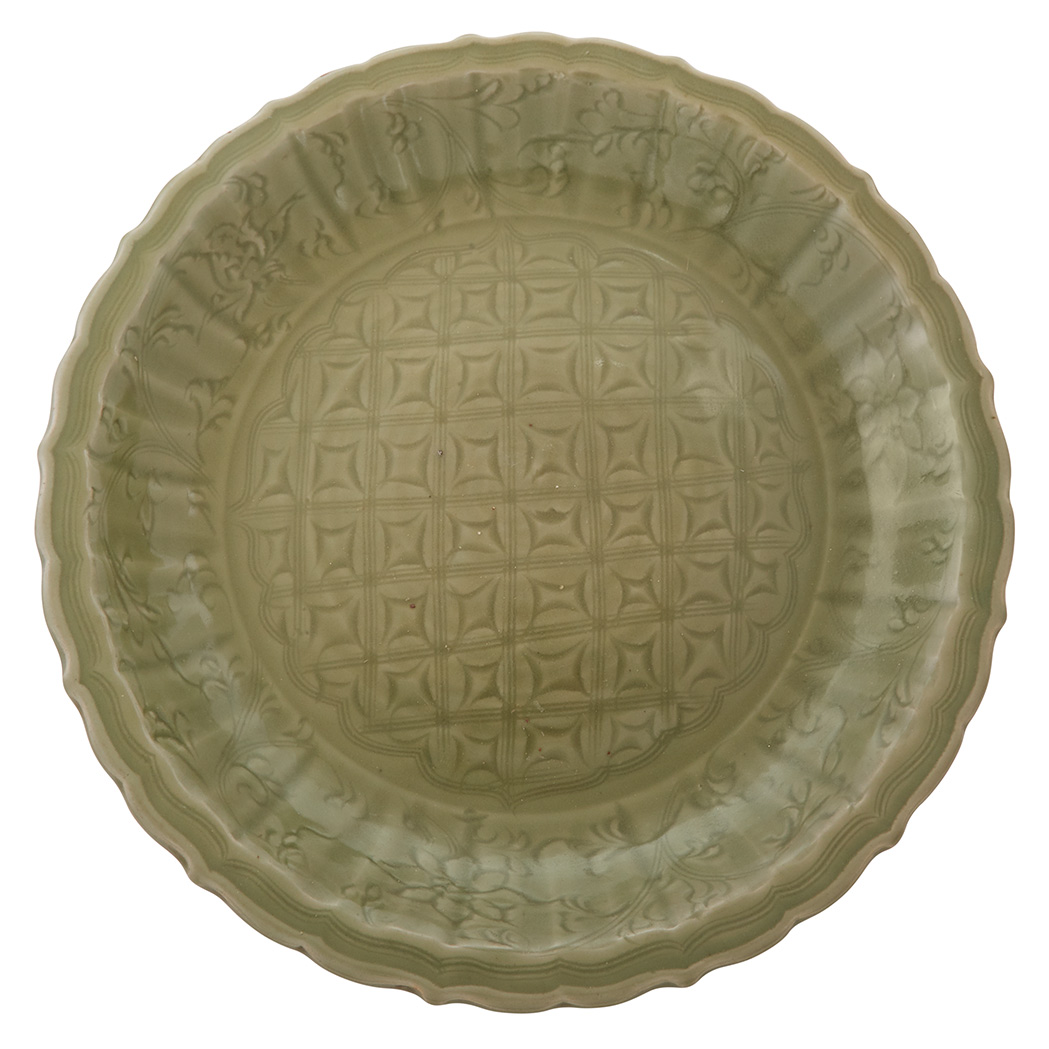 Lot image - Chinese Longquan Celadon Glazed Porcelain Charger