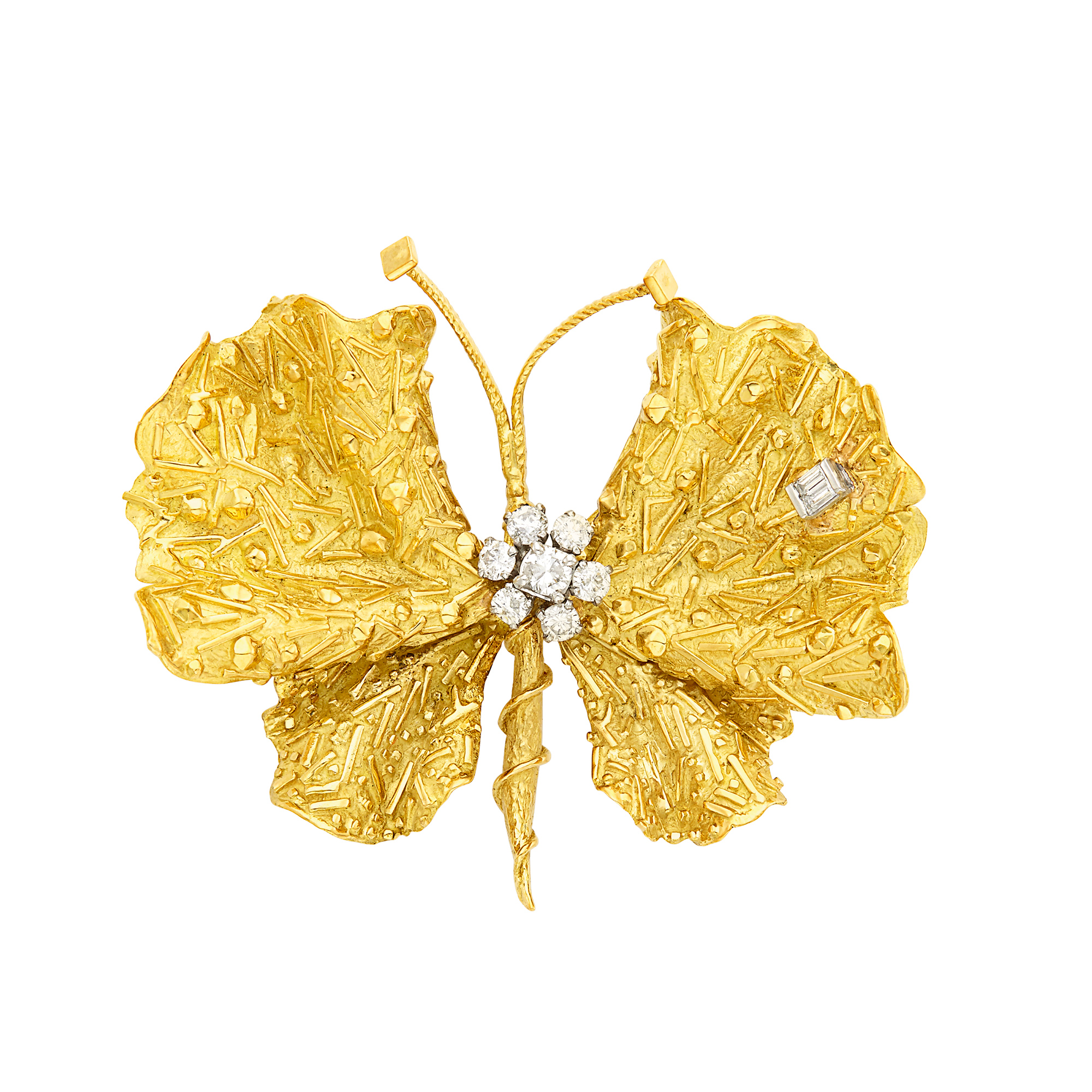 Lot image - Gold and Diamond Butterfly Brooch, Tiffany & Co.