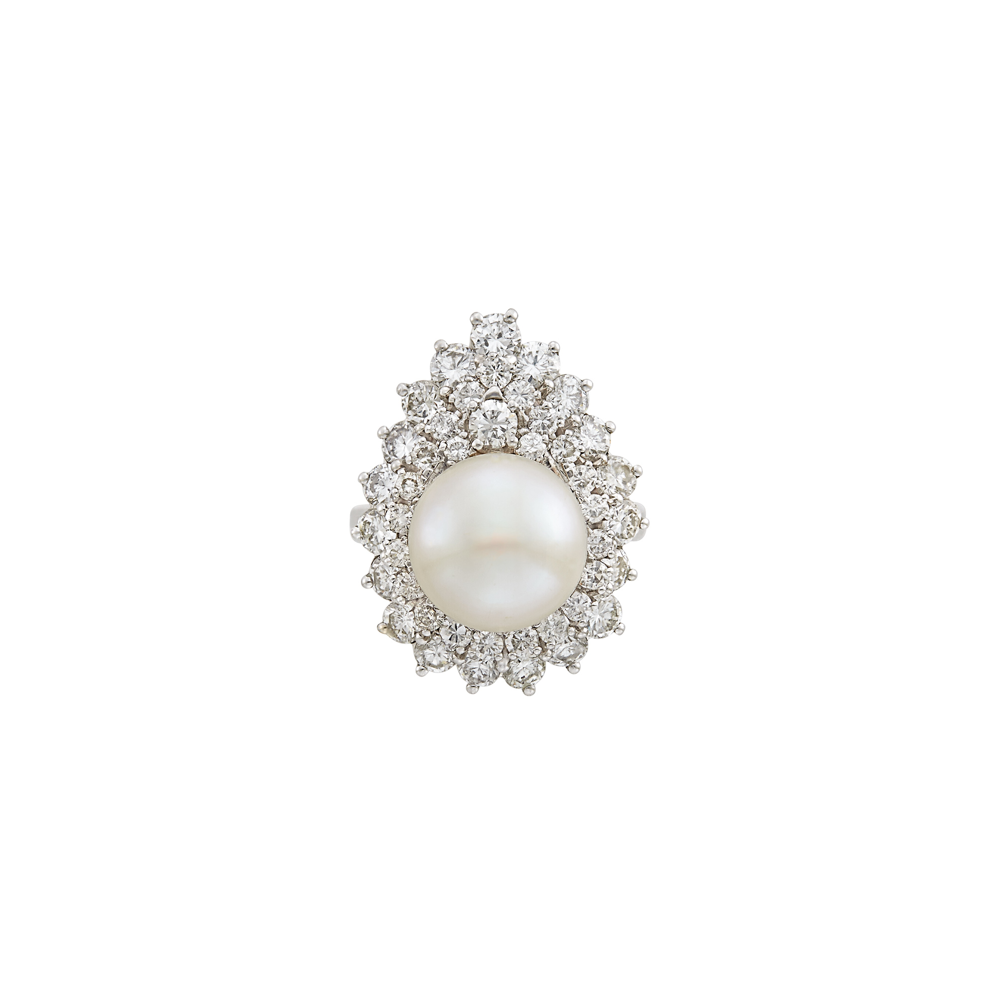 Lot image - Platinum, Cultured Button Pearl and Diamond Ring-Dant