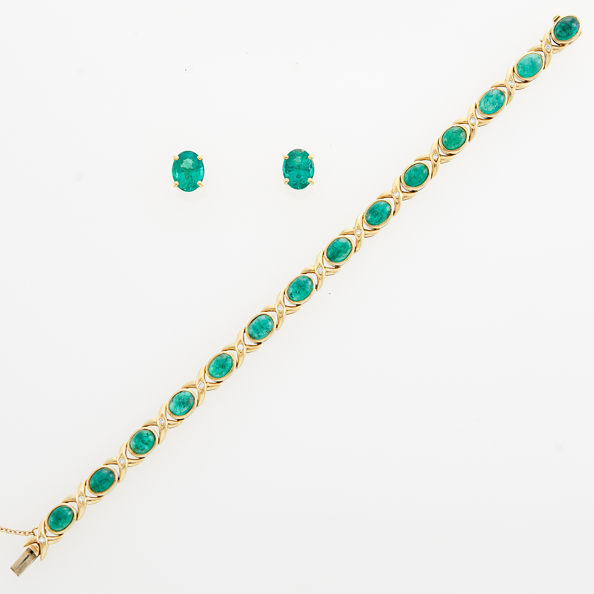 Lot image - Gold, Cabochon Emerald and Diamond Bracelet and Pair of Emerald Earrings
