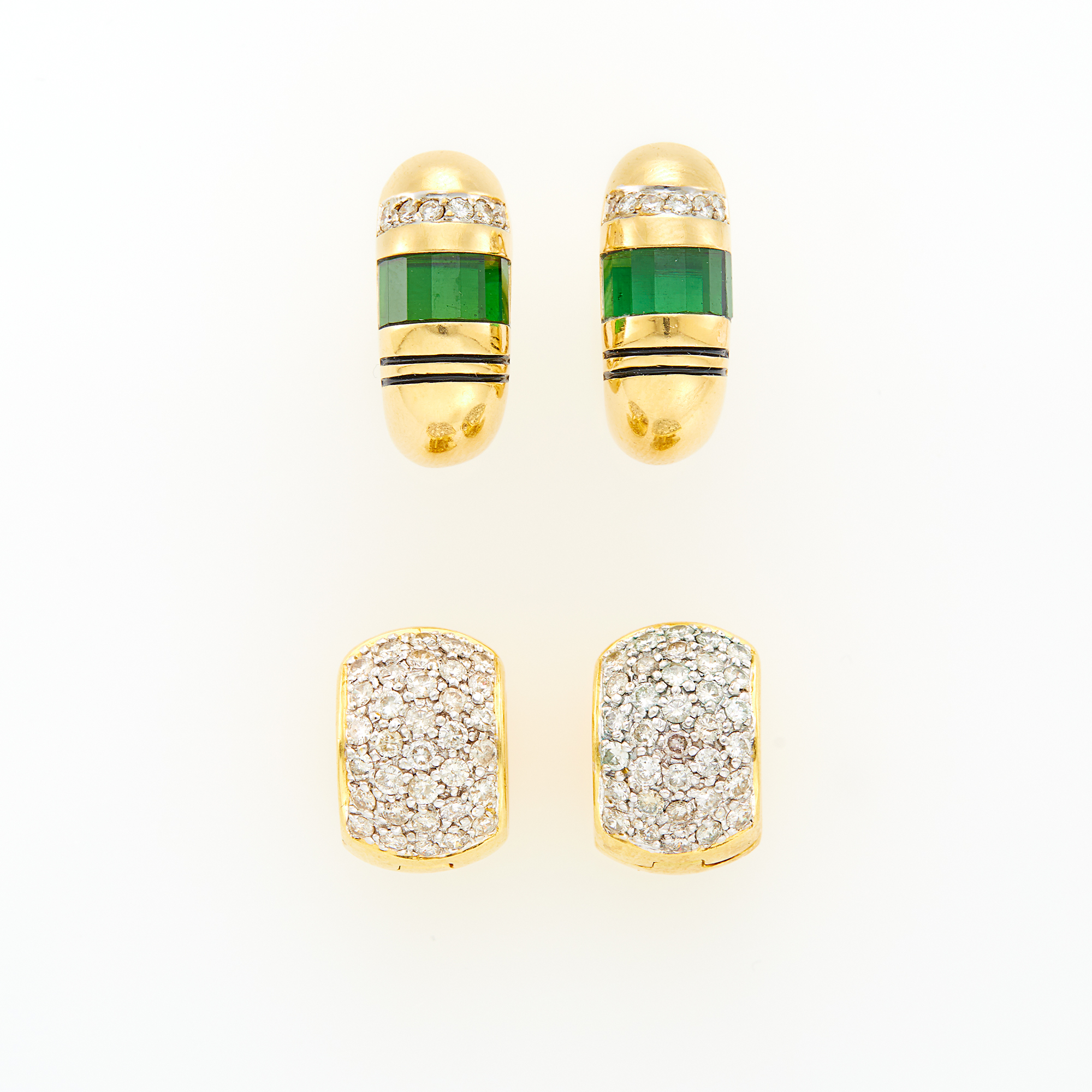 Lot image - Pair of Gold, Tourmaline, Enamel and Diamond Earrings and Gold and Diamond Huggie Earrings