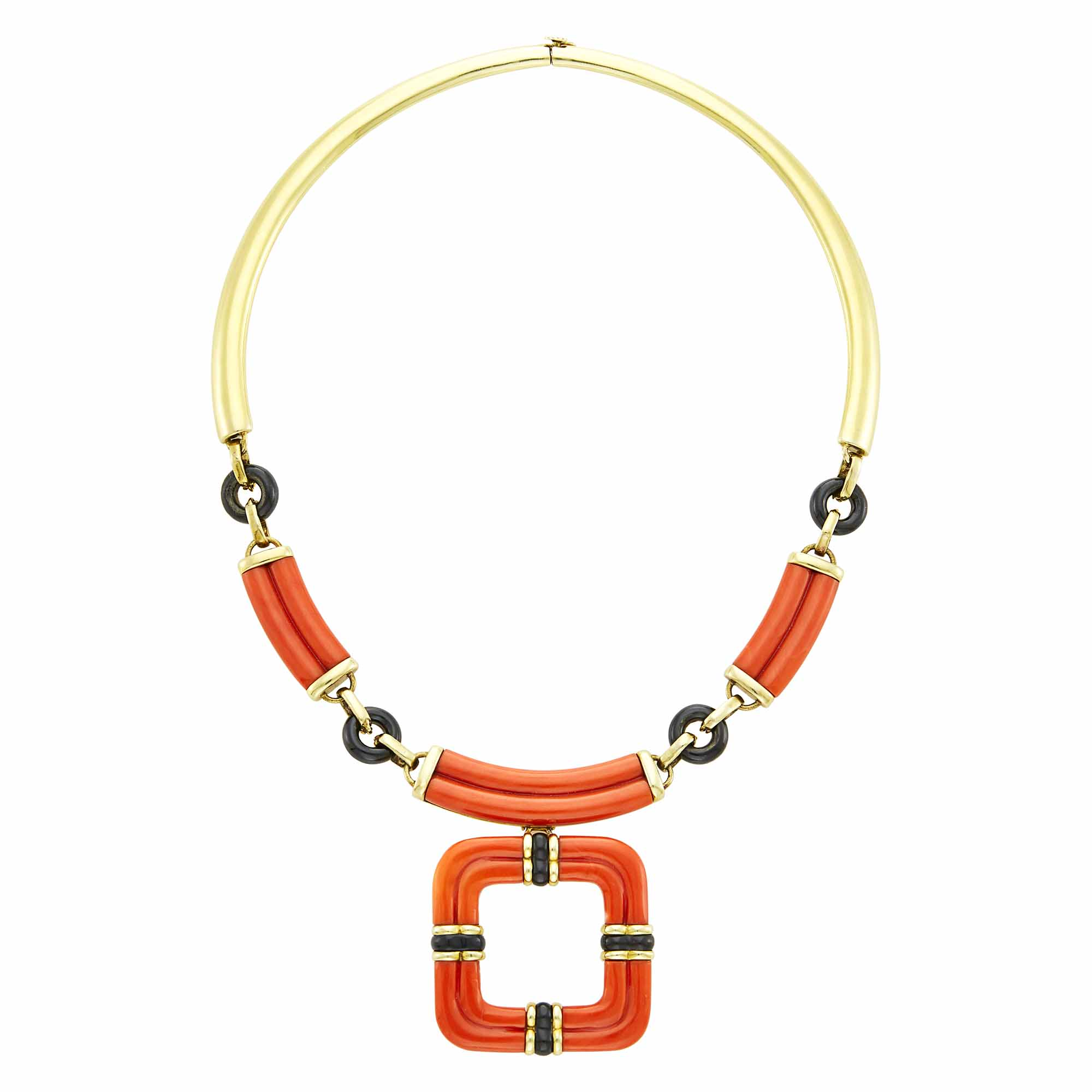 Lot image - Trio Gold, Coral and Black Onyx Necklace