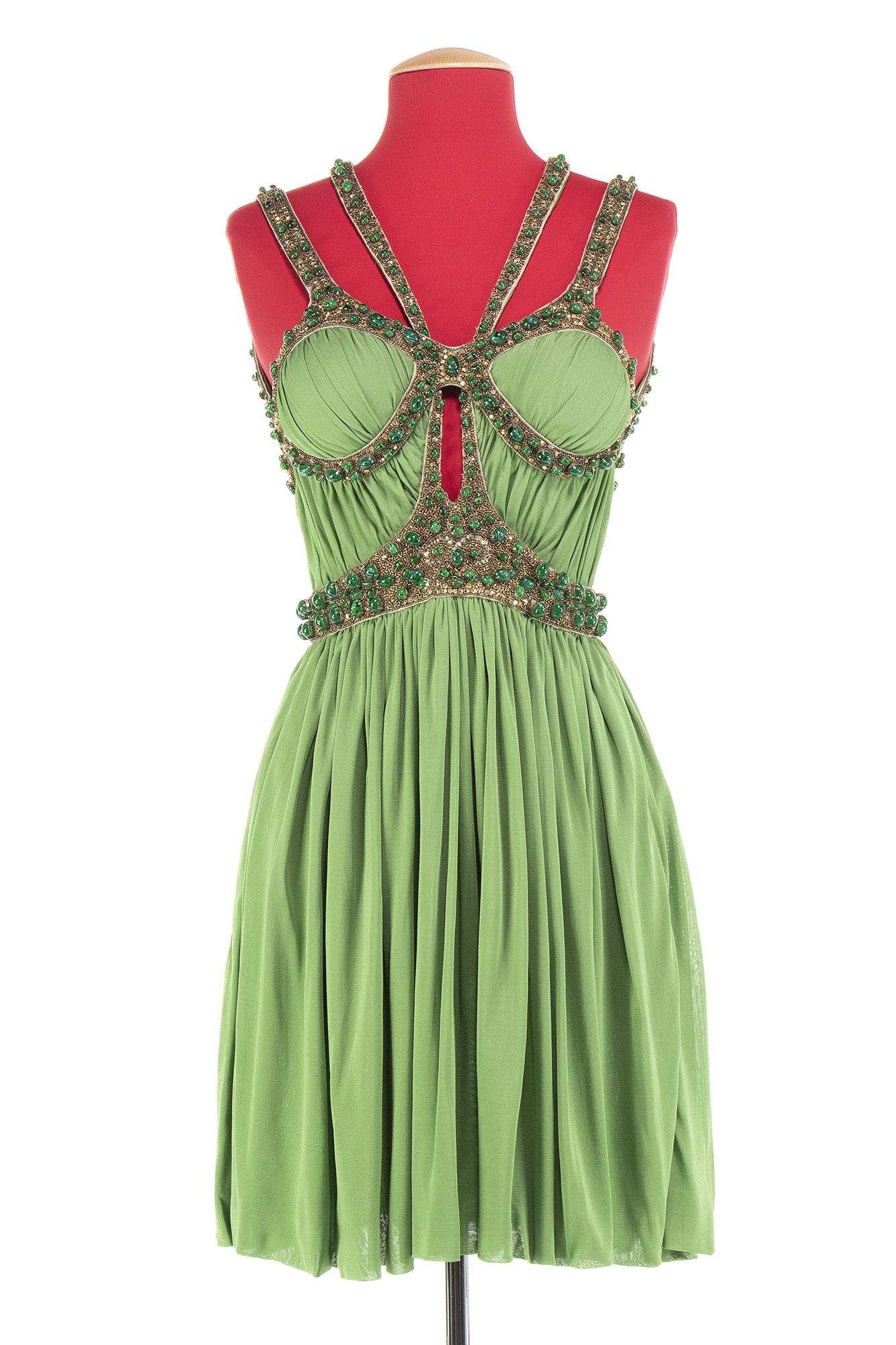 Lot image - Green and Gold Strap Dress, Neptune, Spring/Summer, 2006