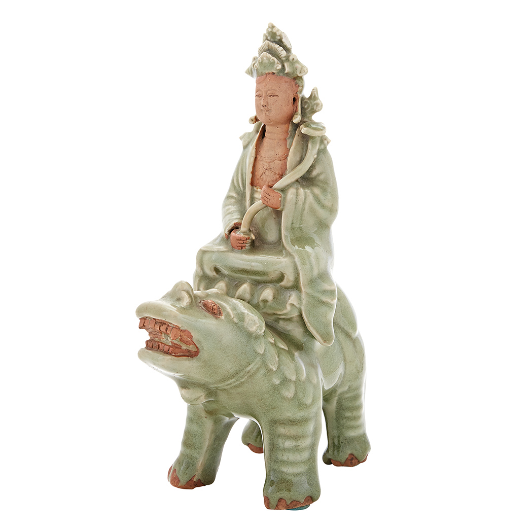Lot image - Chinese Longquan Celadon Glazed Guanyin Group