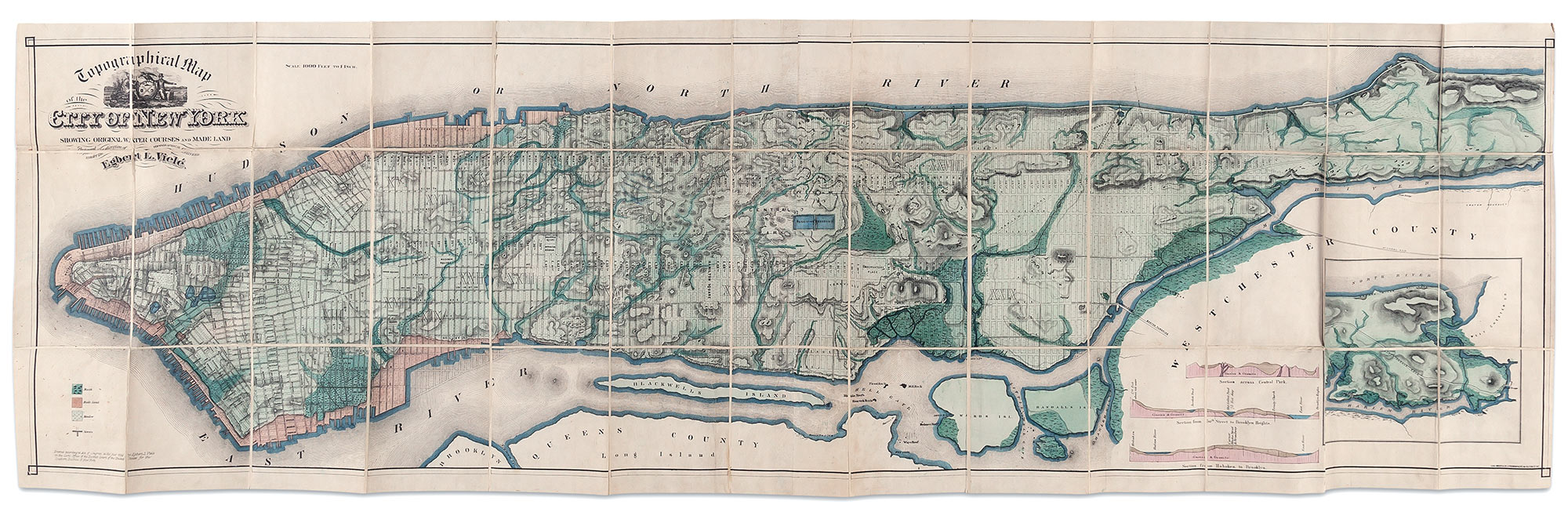 Lot image - [NEW YORK]  VIELE, EGBERT. The Topography and Hydrology of New York.